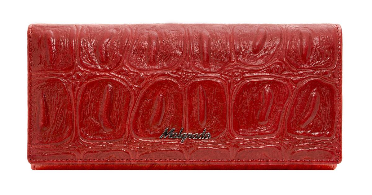 Кошелек женский Malgrado, цвет: красный. 72058-2910272058-29102Женский кошелек Malgrado выполнен из натуральной лаковой кожи с тиснением под рептилию. Внутри купюры лежат в развёрнутом виде в полную длину. Внутри 4 отделения, одно из которых на рамочном металлическом замке, внутри него 2 отсека. Также есть потайной карман для купюр на молнии. На передней внешней стороне 2 кармашка для карточек и 1 продольный карман. На передней внешней стороне 2 кармашка для карточек и 1 продольный карман. На крышке кошелька 7 кармашков для карточек, один из которых прозрачный, а также 1 продольный карман. Кошелек закрывается клапаном на кнопку. На задней стороне кошелька есть кармашек.
