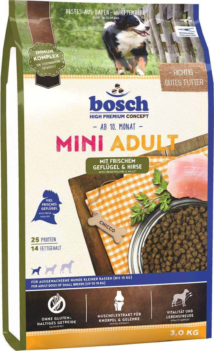 Корм сухой Bosch Mini Adult Geflugel & Hirse для взрослых собак мелких пород, с птицей и просо, 3 кг5339003Сбалансированный высококачественный сухой корм Bosch Mini Adult Geflugel & Hirse предназначен для взрослых собак мелких пород, и поэтому гранулы данного корма адаптированы специально под данную весовую категорию. Формула данного корма имеет в составе комплекс пребиотиков и не содержит глютен злаковых. Так как собаки мелких пород более активны, для них требуется более калорийный рацион. Корм Bocsh Mini Adult содержит в себе необходимую пропорцию жира и протеина. Данный корм понравится даже самым взыскательным собакам. Состав: свежее мясо домашней птицы >20%, просо >17%, кукуруза, рис, животный жир, свекольная пульпа (без сахара), яичный порошок, гидролизованное мясо, льняное семя, рыбная мука, мука из свежего мяса, дрожжи (мин. 0,1% маннан-олигосахариды, мин. 0,06% бета-глюкан), рыбий жир, горох, поваренная соль, мука из мидий >0,1%, хлорид калия. Добавки на 1 кг корма: витамин А 12000 МЕ, витамин Д3 1200 МЕ, витамин Е 70 мг, медь (в форме сульфата ...