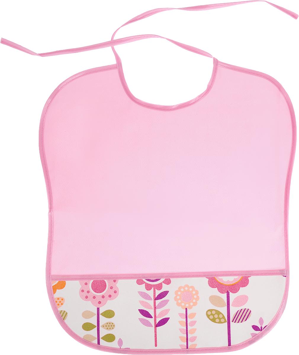 Колорит Нагрудник с карманом Цветы цвет розовый белый 33 х 33 см 0083_розовый, белый