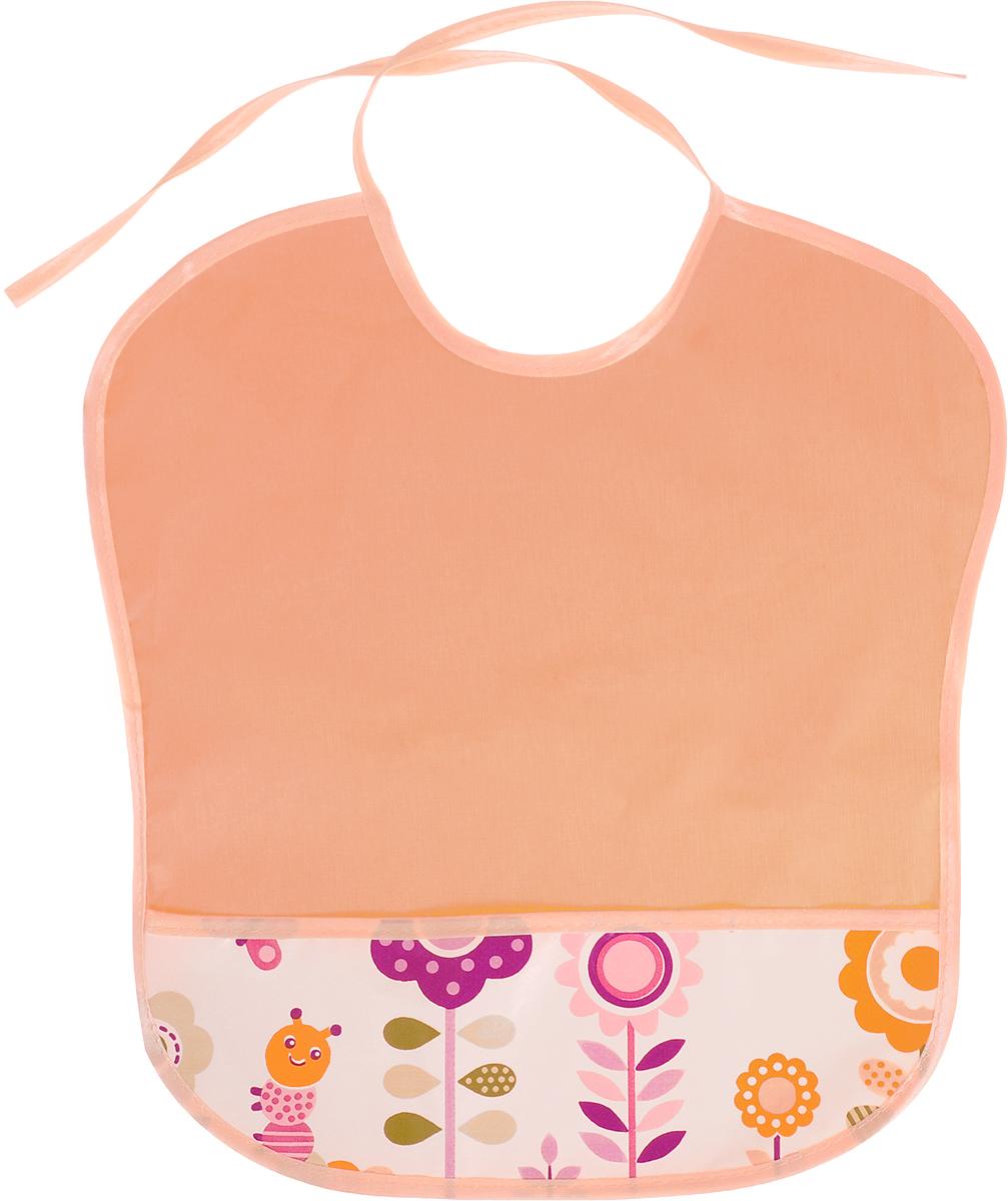 Колорит Нагрудник с карманом Цветы цвет оранжевый 33 см х 33 см