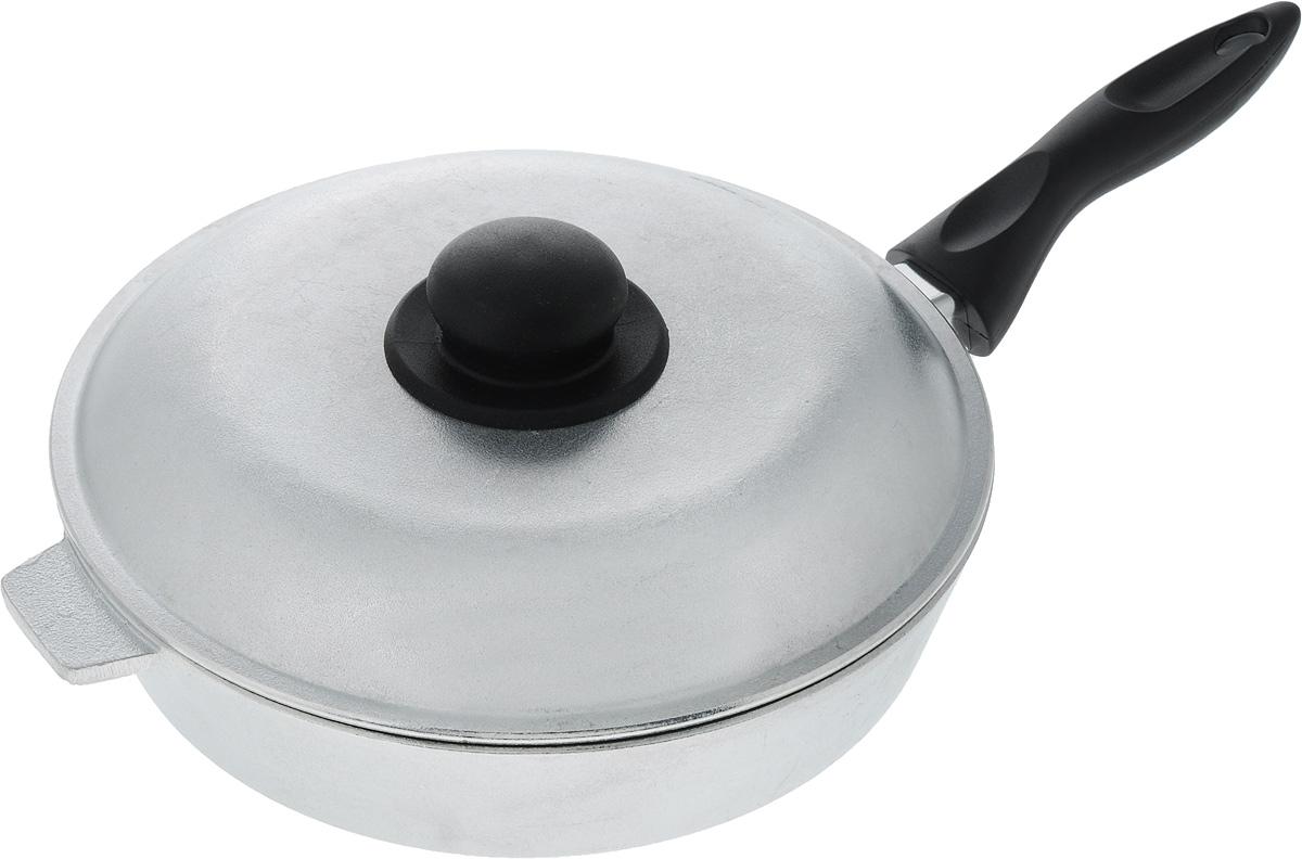 Сковорода Алита Хозяюшка с крышкой. Диаметр 24 см12400Сковорода Алита Хозяюшка, изготовленная из литого алюминиевого сплава, прекрасно подходит для приготовления повседневных блюд. Гладкая поверхность обеспечивает легкость ухода за посудой. Изделие оснащено крышкой и удобной пластиковой ручкой, которая не нагревается в процессе готовки. Подходит для газовых и электрических плит. Диаметр сковороды (по верхнему краю): 24 см. Высота стенки: 5,5 см. Длина ручки: 16 см.