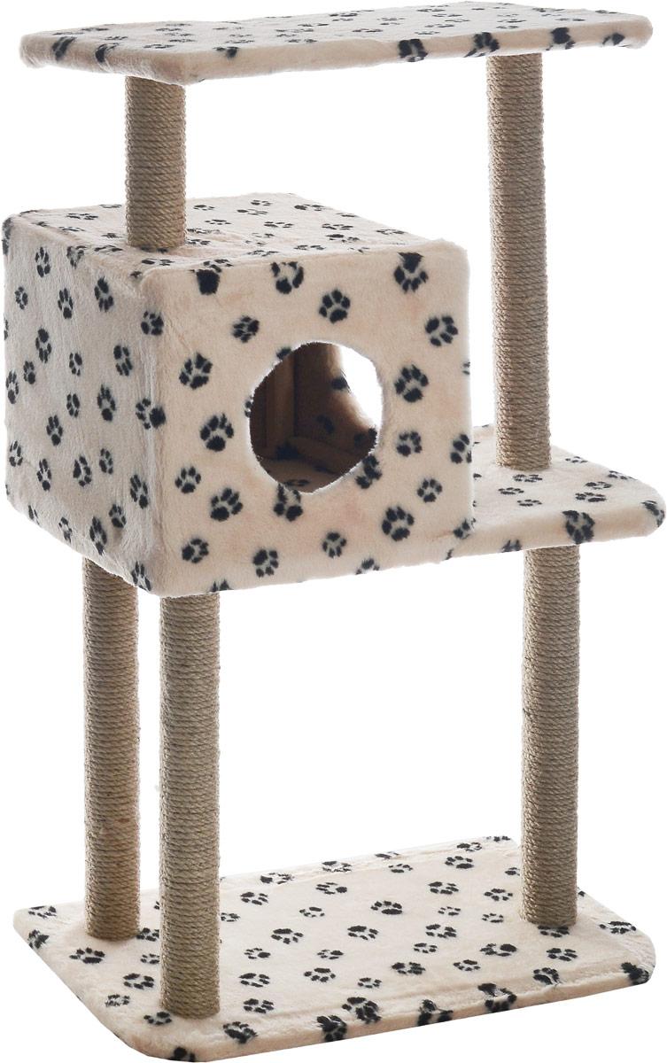 Домик-когтеточка Меридиан, квадратный, трехэтажный, с полкой, цвет: лапки, 65 х 36 х 105 смД134ЛаДомик-когтеточка Квадратный трехэтажный с полкой, джут 650х360х1050 лапки