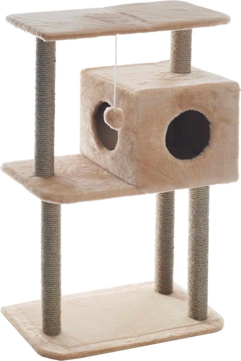 Домик-когтеточка Меридиан, квадратный, трехэтажный, с полкой, цвет: светло-коричневый, бежевый, 65 х 36 х 105 смД134СКДомик-когтеточка Меридиан выполнен из высококачественного ДВП и ДСП и обтянут искусственным мехом. Изделие предназначено для кошек. Комплекс имеет 3 яруса. Ваш домашний питомец будет с удовольствием точить когти о специальные столбики, изготовленные из джута. А отдохнуть он сможет либо на полках, либо в расположенном вверху домике. Изделие снабжено подвесной игрушкой. Домик-когтеточка Меридиан принесет пользу не только вашему питомцу, но и вам, так как он сохранит мебель от когтей и шерсти. Общий размер: 65 х 36 х 105 см. Размер домика: 36 х 35 х 32 см. Размер верхней полки: 65 х 31 см.
