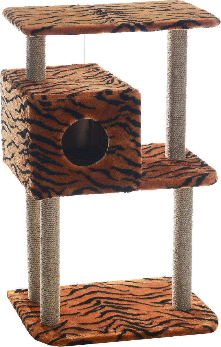 Домик-когтеточка Меридиан, квадратный, трехэтажный, с полкой, цвет: оранжевый, черный, бежевый, 65 х 36 х 105 смД134ТДомик-когтеточка Меридиан выполнен из высококачественного ДВП и ДСП и обтянут искусственным мехом. Изделие предназначено для кошек. Комплекс имеет 3 яруса. Ваш домашний питомец будет с удовольствием точить когти о специальные столбики, изготовленные из джута. А отдохнуть он сможет либо на полках, либо в расположенном вверху домике. Изделие снабжено подвесной игрушкой. Домик-когтеточка Меридиан принесет пользу не только вашему питомцу, но и вам, так как он сохранит мебель от когтей и шерсти. Общий размер: 65 х 36 х 105 см. Размер домика: 36 х 35 х 32 см. Размер верхней полки: 65 х 31 см.
