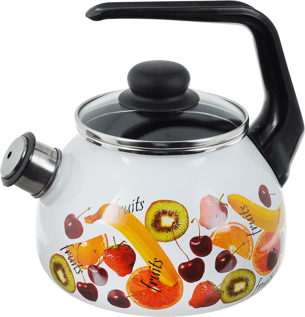 Чайник эмалированный Vitross Fruits, со свистком, 2 л1RA12Чайник Vitross Fruits выполнен из высококачественной стали, что обеспечивает долговечность использования. Внешнее цветное эмалевое покрытие придает приятный внешний вид. Пластиковая фиксированная ручка делает использование чайника очень удобным и безопасным. Чайник снабжен съемным свистком. Можно мыть в посудомоечной машине. Пригоден для всех видов плит, включая индукционные. Диаметр чайника (по верхнему краю): 13 см. Высота чайника (без учета крышки и ручки): 21,5 см. Диаметр основания: 15 см.