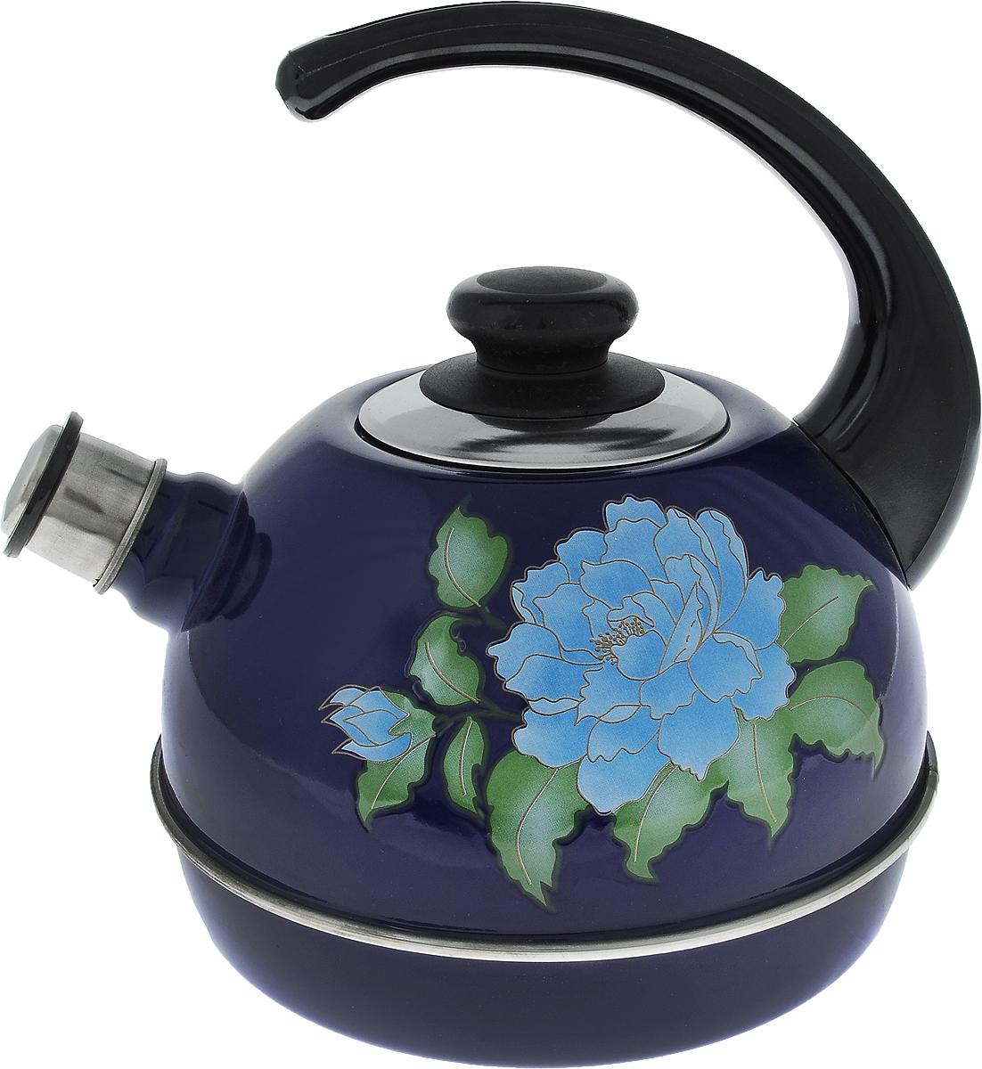 Чайник Рубин, со свистком, цвет: синий, голубой, зеленый, 3,5 лT04/35/05/13Чайник Рубин выполнен из высококачественной стали, что обеспечивает долговечность использования. Внешнее цветное эмалевое покрытие придает приятный внешний вид. Пластиковая фиксированная ручка делает использование чайника очень удобным и безопасным. Чайник снабжен съемным свистком. Можно мыть в посудомоечной машине. Пригоден для всех видов плит, включая индукционные. Высота чайника (без учета крышки и ручки): 14 см. Диаметр основания: 19 см.
