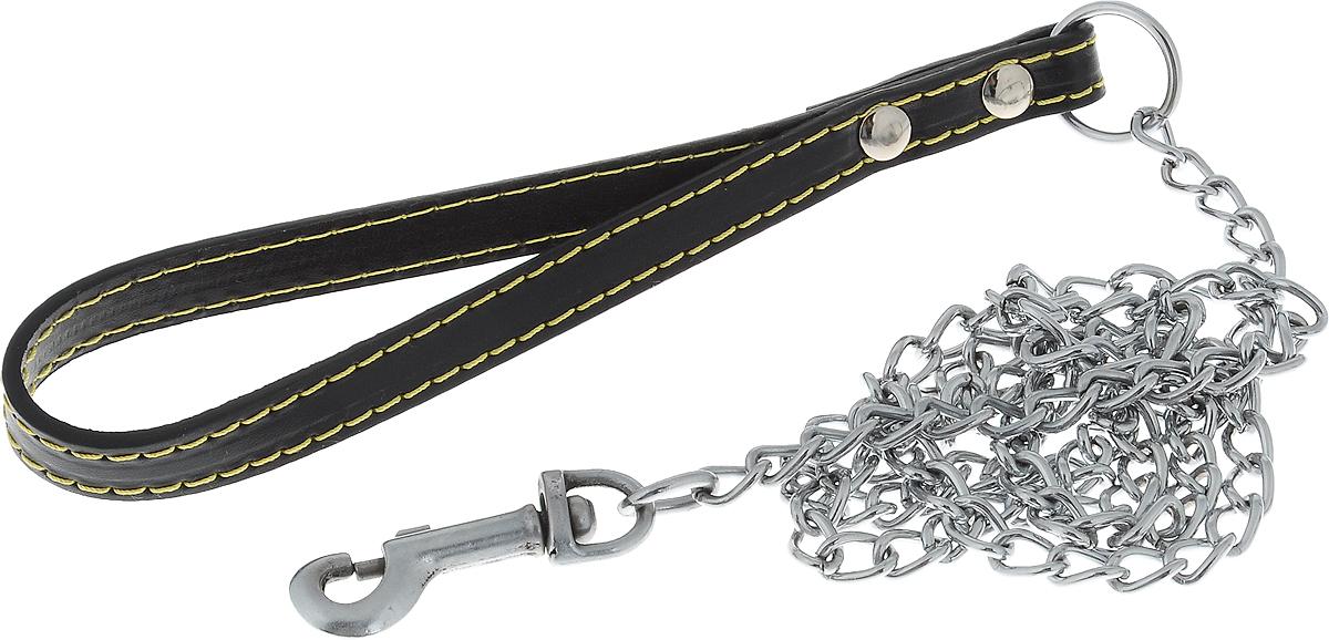 Поводок-цепь для собак Dezzie, цвет: черный, серебристый, толщина 2 мм, длина 120 см5601015_черныйПоводок-цепь для собак Dezzie - это удобная и качественная амуниция из хромированной стали. Поводок прост в использовании. Он поможет удерживать энергичного питомца во время прогулки, не навредив при этом его здоровью. Изделие пристегивается к ошейнику с помощью встроенного карабина. Такой поводок смотрится элегантно, идеально подходит для дрессировки и создан так, чтобы не причинить питомцам дискомфорта. Длина поводка: 120 см. Толщина цепи: 2 мм.