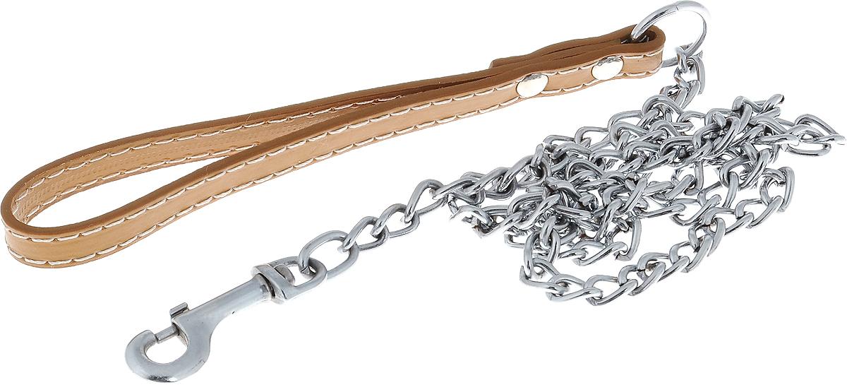 Поводок-цепь для собак Dezzie, цвет: бежевый, серебристый, толщина 2,5 мм, длина 120 см5601016_бежевыйПоводок-цепь для собак Dezzie - это удобная и качественная амуниция из хромированной стали. Поводок прост в использовании. Он поможет удерживать энергичного питомца во время прогулки, не навредив при этом его здоровью. Изделие пристегивается к ошейнику с помощью встроенного карабина. Такой поводок смотрится элегантно, идеально подходит для дрессировки и создан так, чтобы не причинить питомцам дискомфорта. Длина поводка: 120 см. Толщина цепи: 2,5 мм.