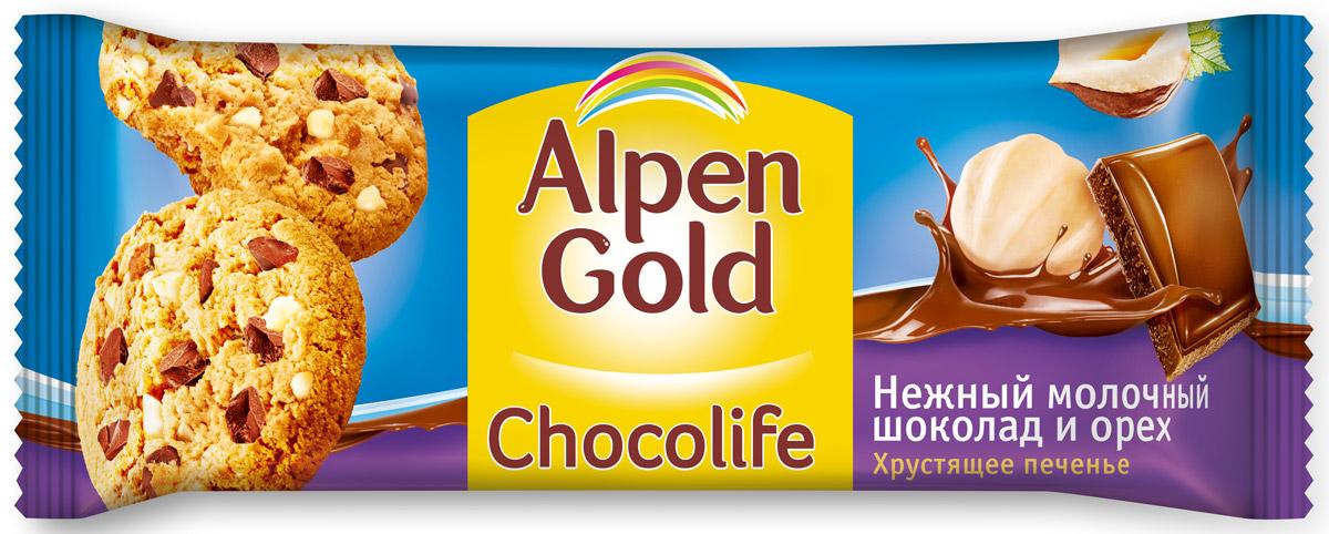 Alpen Gold Chocolife печенье с молочным шоколадом и фундуком, 135 г652943, 323357Хрустящее печенье Alpen Gold Chocolife с тающими во рту кусочками настоящего молочного шоколада и ароматным лесным орехом - излюбленное сочетание ингредиентов - откроет мир богатых вкусовых ощущений и, самое главное, зарядит вас оптимизмом! Уважаемые клиенты! Обращаем ваше внимание, что полный перечень состава продукта представлен на дополнительном изображении.