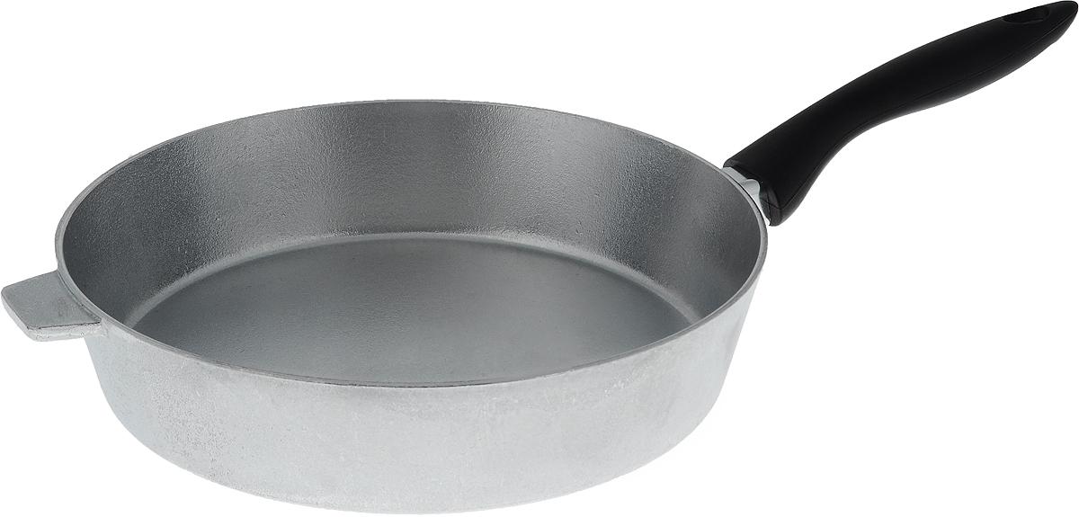 Сковорода Алита Хозяюшка. Диаметр 28 см13100Сковорода Алита Хозяюшка, изготовленная из литого алюминиевого сплава AK5M2П, прекрасно подходит для приготовления повседневных блюд. Гладкая поверхность обеспечивает легкость ухода за посудой. Изделие оснащено удобной пластиковой ручкой, которая не нагревается в процессе готовки. Подходит для использования на всех типах плит, кроме индукционных. Диаметр сковороды (по верхнему краю): 28 см. Высота стенки: 6,5 см. Длина ручки: 19 см.