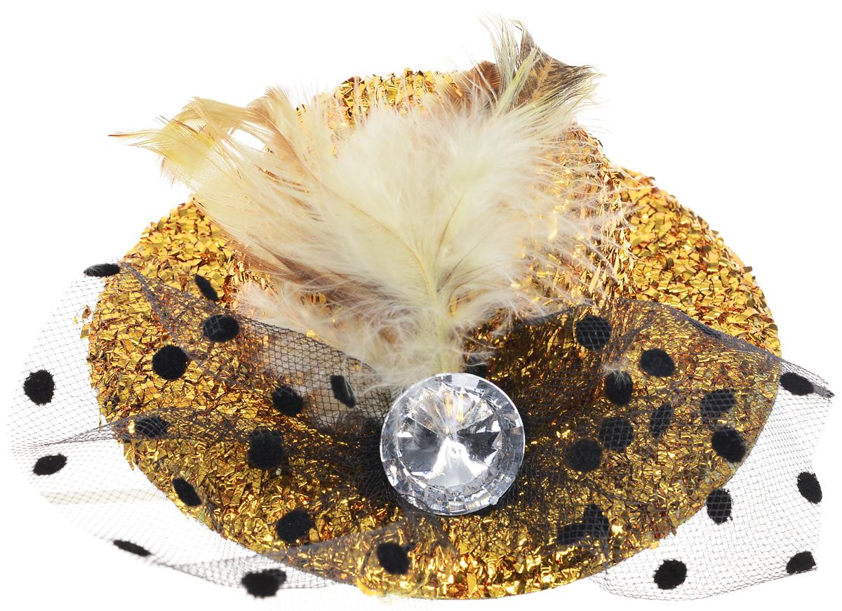 Partymania Карнавальная мини-шляпка с вуалью цвет золотистый
