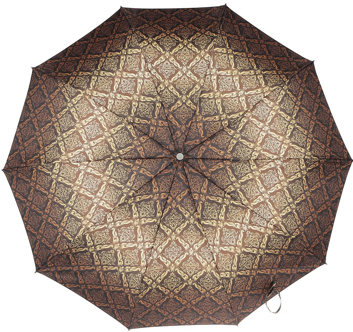 Зонт женский Zest, механический, 5 сложений, цвет: коричневый, желтый. 25518-273125518-2731Компактный женский зонт Zest выполнен из металла, пластика и оформлен ярким принтом. Каркас зонта выполнен из шести спиц на прочном стержне. На концах спиц предусмотрены металлические элементы, которые защитят владельца от травм. Купол зонта изготовлен прочного полиэстера. Закрытый купол застегивается на липучку хлястиком. Практичная рукоятка закругленной формы разработана с учетом требований эргономики и выполнена из пластика. Зонт складывается и раскладывается механическим способом. Такой зонт не только надежно защитит от дождя, но и станет стильным аксессуаром.