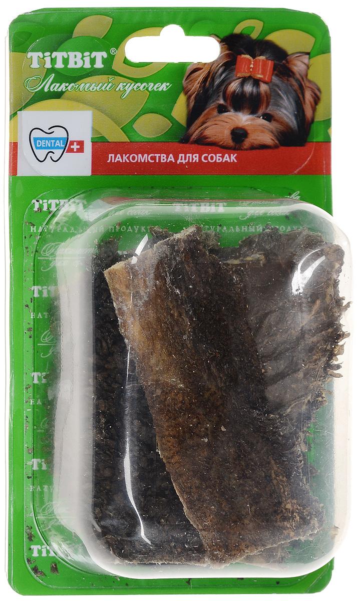 Лакомство для собак Titbit, говяжий желудок, 40 г6667Лакомство для собак Titbit представляет собой высушенные пластины говяжьего рубца. Упаковка содержит 8-9 пластин длиной 11 см. Говяжий рубец представляет собой часть желудка КРС, точнее - первый из его преджелудков, в котором содержится полезная микрофлора. Ворсинки неочищенного сушеного рубца сохраняют на себе ферменты и витамины группы В, вырабатываемые его микрофлорой при жизни животного. Содержат низкокалорийный, легкоусвояемый белок. Благодаря особой технологии сушки сохраняется до 60% процентов полезных веществ. Рубец говяжий способствует улучшению пищеварения и устранению дисбактериоза. Состав: высушенный говяжий рубец. Товар сертифицирован. Уважаемые клиенты! Обращаем ваше внимание на возможные изменения в дизайне упаковки. Качественные характеристики товара остаются неизменными. Поставка осуществляется в зависимости от наличия на складе.