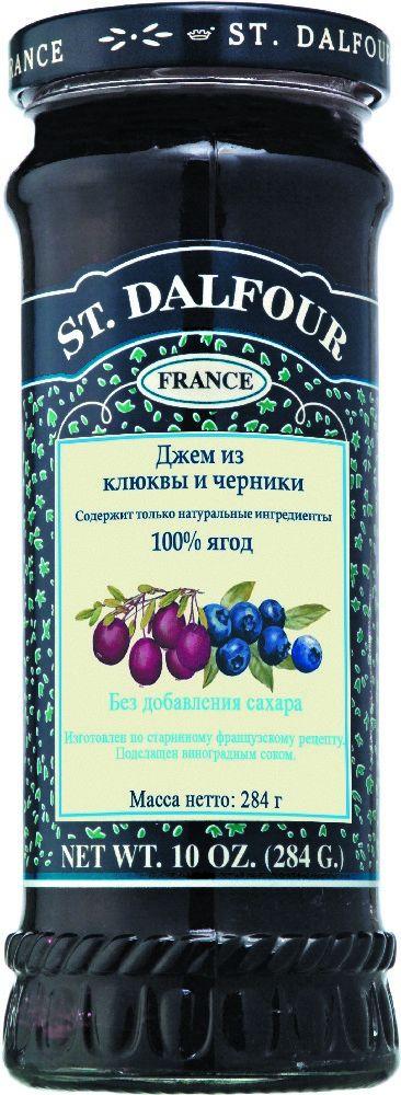 St.Dalfour Джем Клюква и Черника, 284 г207037Без сахара. Изготовлен по старинным французским рецептам. Не содержит консервантов, искусственных ароматизаторов и красителей. Содержит только натуральные ингредиенты.