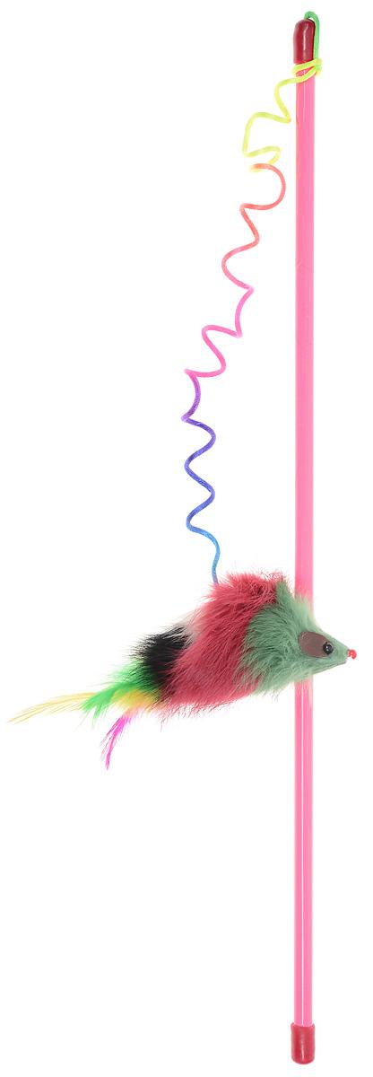 """Игрушка для кошек Dezzie """"Дразнилка Мышь-клоун"""", цвет: розовый, красный, зеленый, длина 46 см 5605266"""