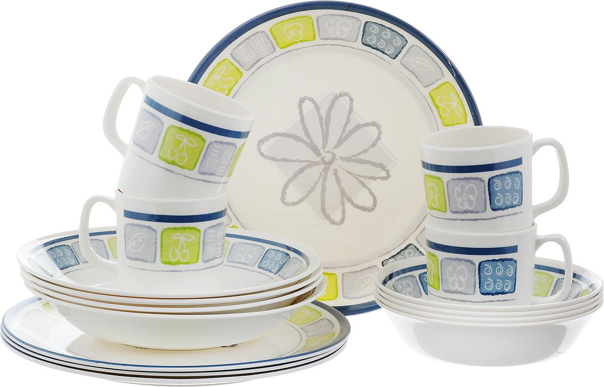 Набор столовой посуды Calve, цвет: белый, желтый, синий, 16 предметовCL-2513_цветок_белый, салатовый, синийНабор Calve состоит из 4 суповых тарелок, 4 обеденных тарелок, 4 мисок и 4 чашек. Изделия выполнены из меламина. Посуда имеет элегантный дизайн и привлекательное художественное оформление. Такой набор прекрасно подойдет как для повседневного использования, так и для праздников или особенных случаев. Набор столовой посуды Calve - это не только яркий и полезный подарок для родных и близких, а также великолепное дизайнерское решение для вашей кухни или столовой. Можно мыть в посудомоечной машине. Диаметр суповой тарелки (по верхнему краю): 22,5 см. Высота суповой тарелки: 4,5 см. Диаметр обеденной тарелки (по верхнему краю): 26 см. Высота обеденной тарелки: 2 см. Диаметр миски (по верхнему краю): 17,5 см. Высота миски: 4,5 см. Объем чашки: 355 мл. Диаметр чашки (по верхнему краю): 8,5 см. Высота чашки: 8,5 см.