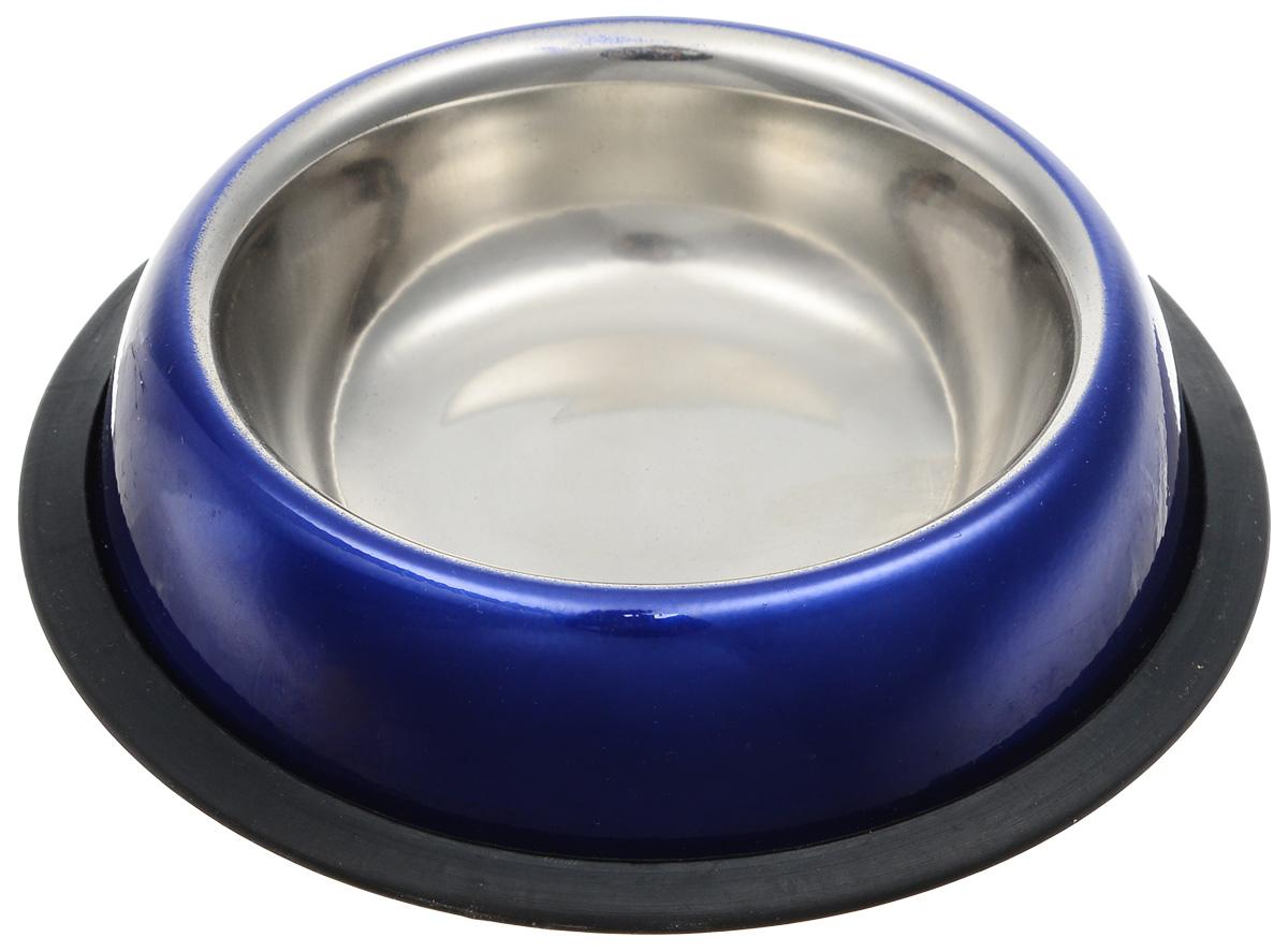Миска для кошек Dezzie Штиль, цвет: синий, черный, 225 мл5612014Удобная и красивая миска для кошек Dezzie Штиль выполнена из стали и имеет нескользящее резиновое основание. Может использоваться для воды и корма. Миска устойчива и не переворачивается. Стальные миски – самые прочные и надежные. Они никогда не выйдут из моды, так как всегда будут отлично вписываться в любой интерьер дома. Сталь легко мыть, и она не выделяет вредных веществ. Такие миски прослужат долго и не будут скользить по полу во время кормления питомца. Объем миски: 225 мл.
