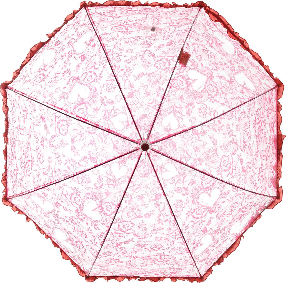 Зонт детский Airton, механический, трость, цвет: прозрачный, красный. 1651-041651-04Замечательный прозрачный зонтик Airton для юной модницы с рисунком сердечки. Механизм зонта - полуавтомат. Купол зонта изготовлен из прочного ПВХ. Практичная рукоятка закругленной формы разработана с учетом требований эргономики и выполнена из качественного пластика с противоскользящей обработкой. Аксессуар сделан с соблюдением всех стандартов безопасности, острые концы заблокированы специальными клипсами, ручка в форме крюка позволит легко повесить зонт даже на собственную руку.