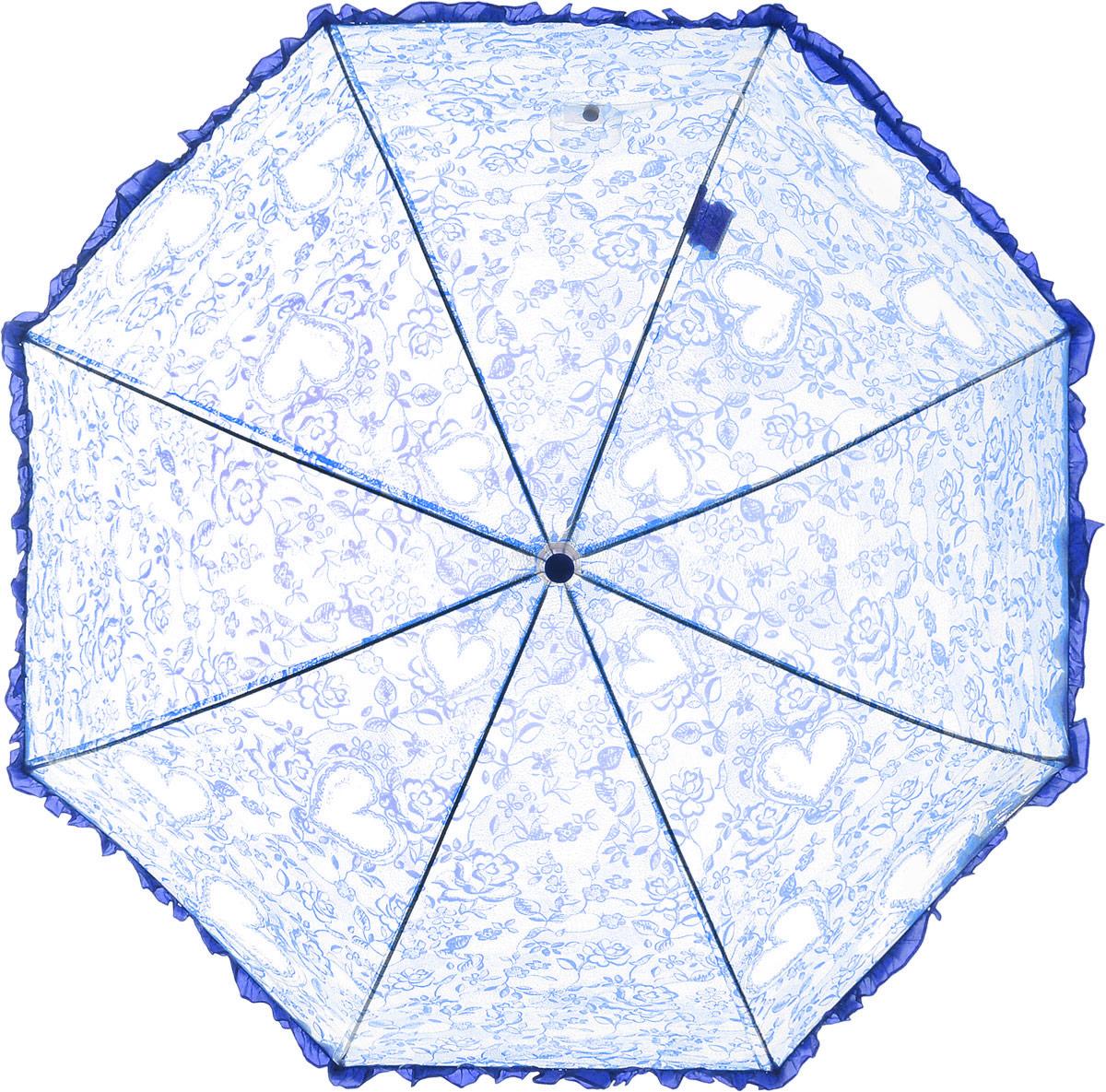Зонт детский Airton, механический, трость, цвет: прозрачный, синий. 1651-051651-05Замечательный прозрачный зонтик Airton для юной модницы с рисунком сердечки. Механизм зонта - полуавтомат. Купол зонта изготовлен из прочного ПВХ. Практичная рукоятка закругленной формы разработана с учетом требований эргономики и выполнена из качественного пластика с противоскользящей обработкой. Аксессуар сделан с соблюдением всех стандартов безопасности, острые концы заблокированы специальными клипсами, ручка в форме крюка позволит легко повесить зонт даже на собственную руку.