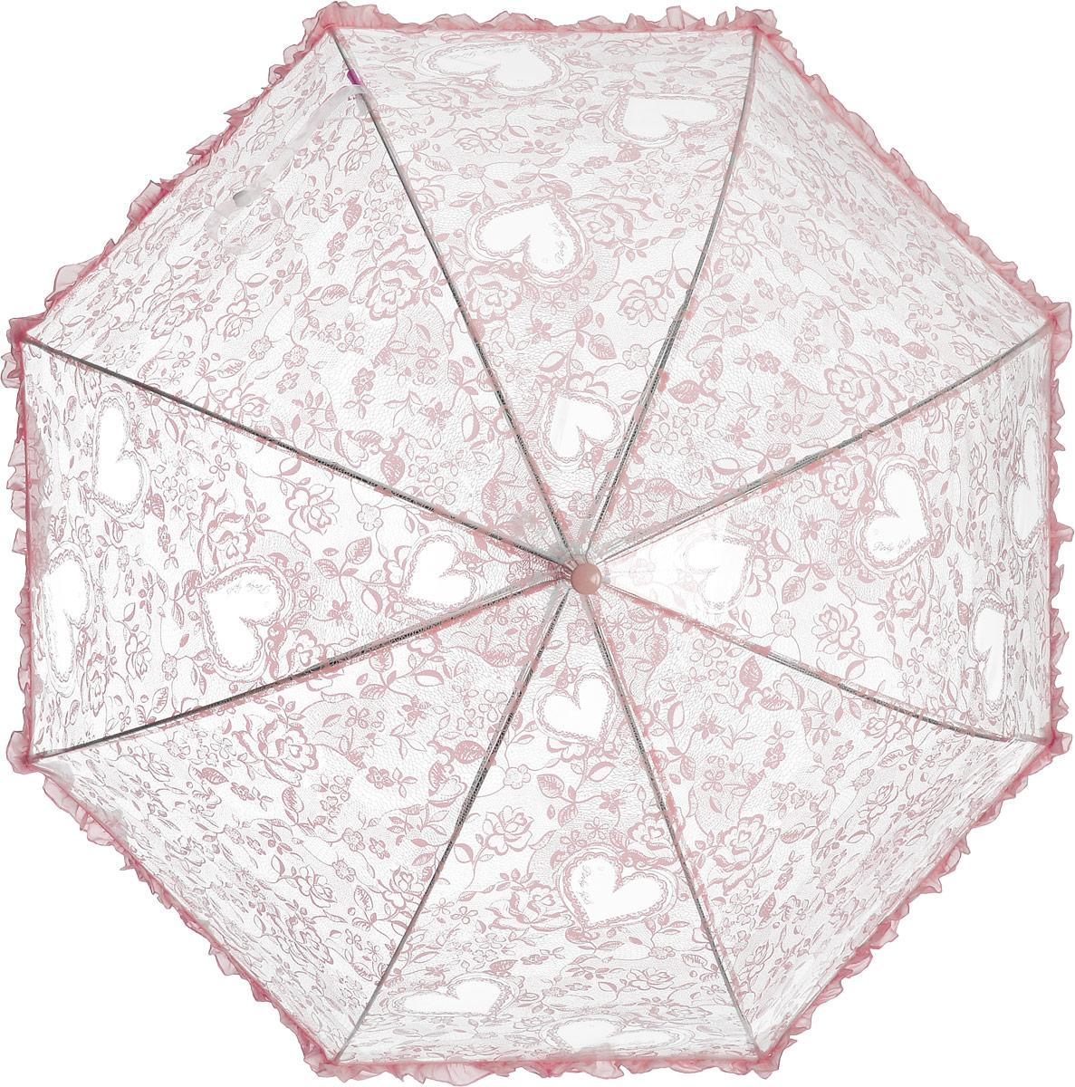Зонт детский Airton, механический, трость, цвет: прозрачный, розовый. 1651-031651-03Замечательный прозрачный зонтик для юной модницы с рисунком Сердечки. Механихм зонта - полуавтомат. Аксессуар сделан с соблюдением всех стандартов безопасности, острые концы заблокированы специальными клипсами, ручка в форме крюка позволит легко повесить зонт даже на собственную руку.