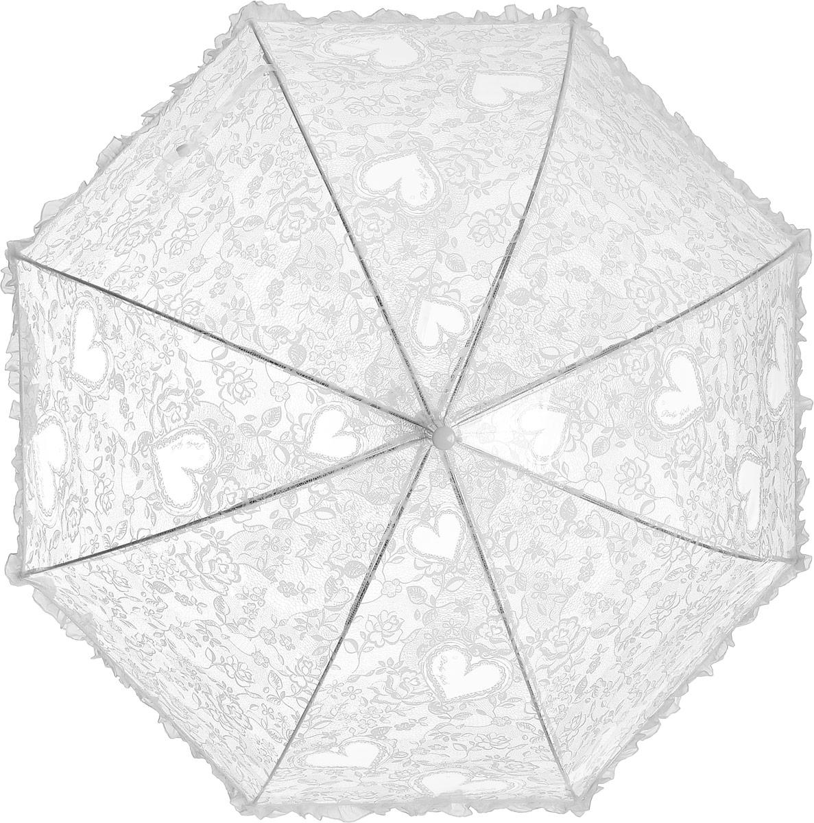 Зонт детский Airton, механический, трость, цвет: прозрачный, белый. 1651-011651-01Замечательный прозрачный зонтик с рюшей, для юной модницы с рисунком Кружева и Сердечки. Механихм зонта - полуавтомат. Аксессуар сделан с соблюдением всех стандартов безопасности, острые концы заблокированы специальными клипсами, ручка в форме крюка позволит легко повесить зонт даже на собственную руку.