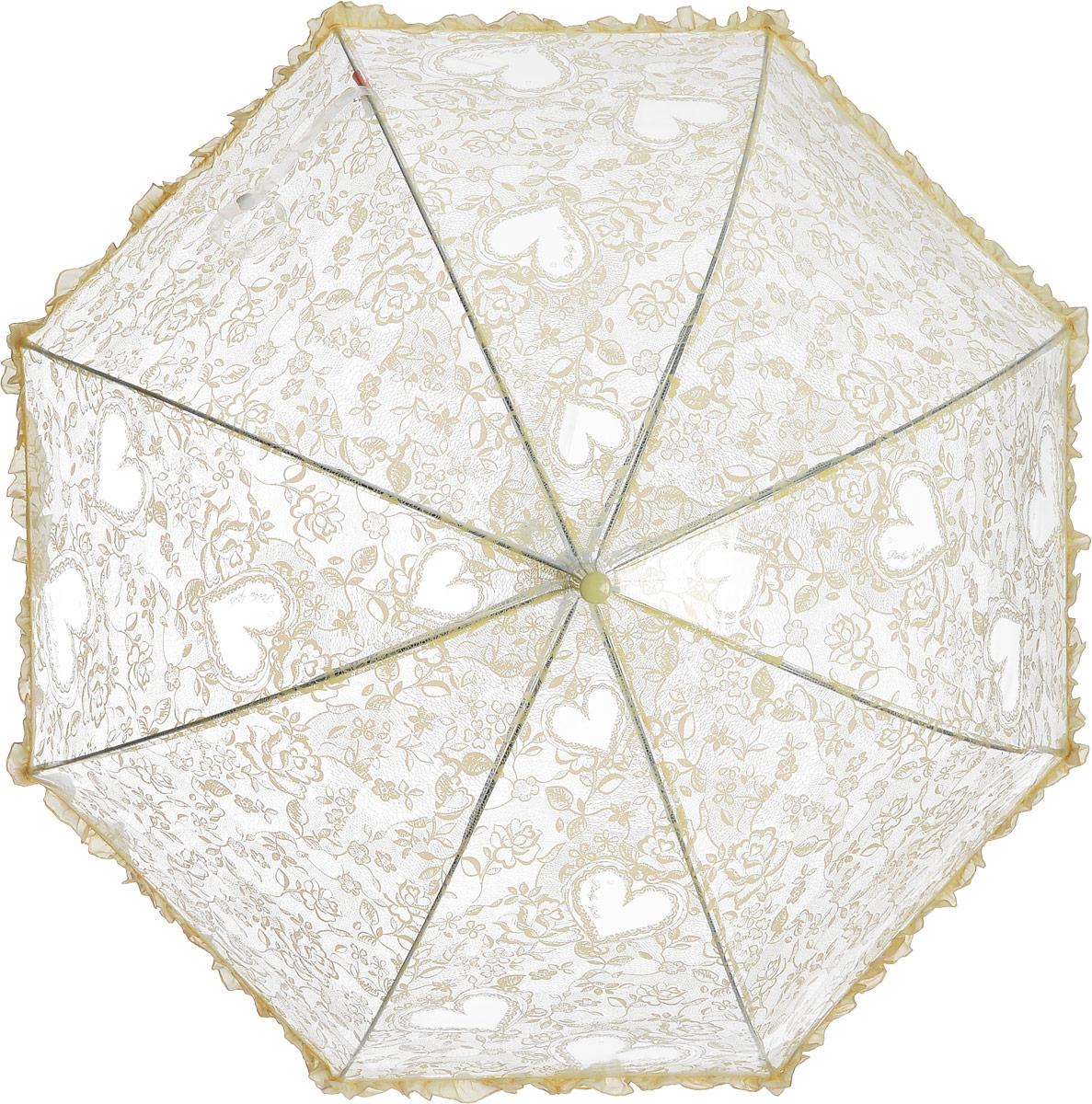 Зонт детский Airton, механический, трость, цвет: прозрачный, желтый. 1651-021651-02Замечательный прозрачный зонтик для юной модницы с рисунком Сердечки. Механихм зонта - полуавтомат. Аксессуар сделан с соблюдением всех стандартов безопасности, острые концы заблокированы специальными клипсами, ручка в форме крюка позволит легко повесить зонт даже на собственную руку.