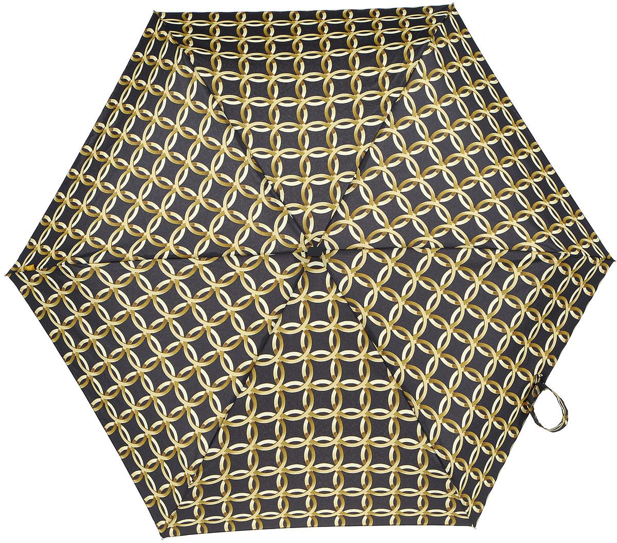 Зонт женский Zest, механический, 5 сложений, цвет: черный, золотой. 25518-26225518-262Компактный женский зонт Zest выполнен из металла, пластика и оформлен ярким принтом. Каркас зонта выполнен из шести спиц на прочном стержне. На концах спиц предусмотрены металлические элементы, которые защитят владельца от травм. Купол зонта изготовлен прочного полиэстера. Закрытый купол застегивается на липучку хлястиком. Практичная рукоятка закругленной формы разработана с учетом требований эргономики и выполнена из пластика. Зонт складывается и раскладывается механическим способом. Такой зонт не только надежно защитит от дождя, но и станет стильным аксессуаром.