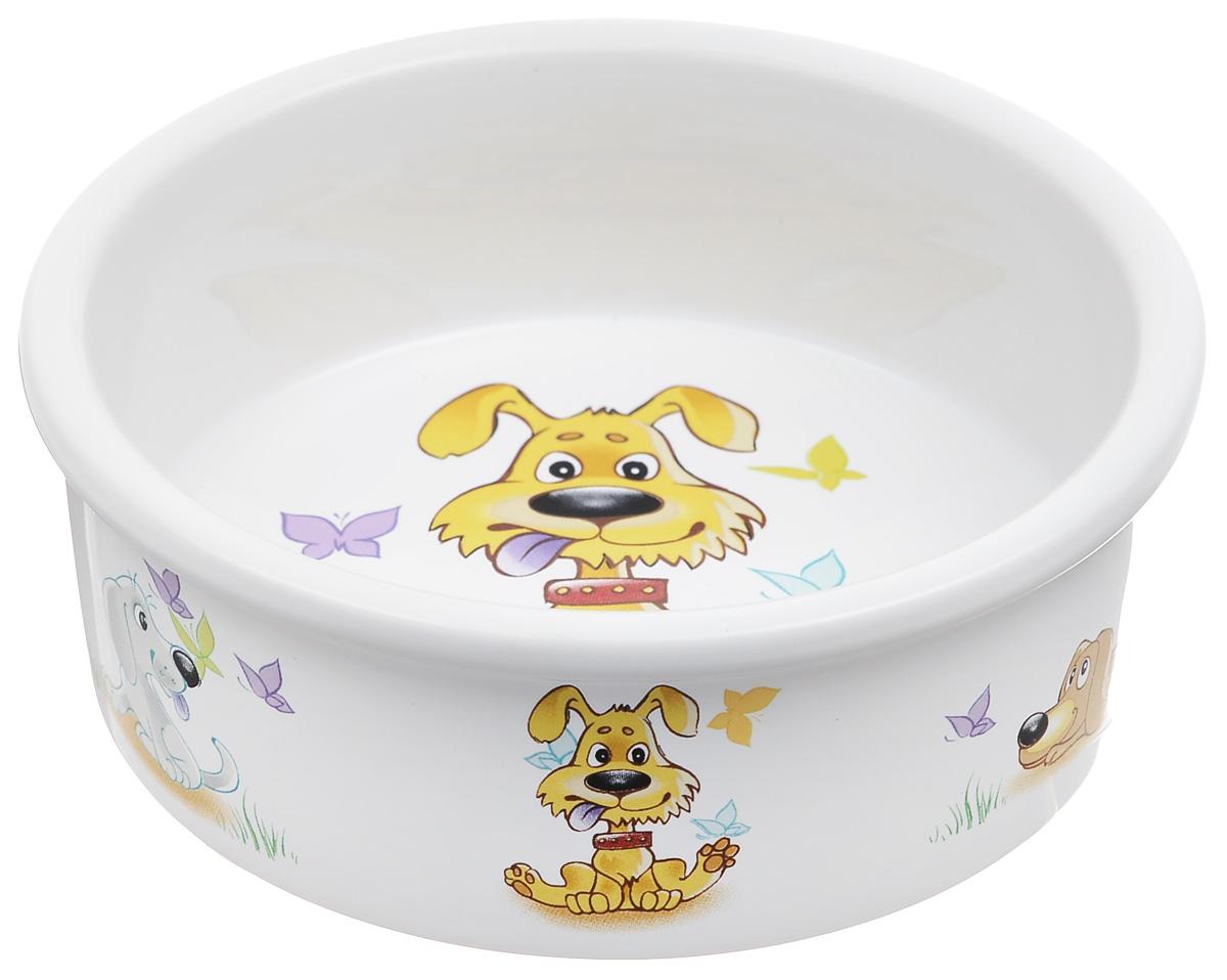 Миска для собак Dezzie Желание, 300 мл5637008Миска для собак Dezzie выполнена из прочной глазурованной керамики. Дно миски и стенки дополнены забавными рисунками. Такая миска отлично подойдет для собак мелких пород. Диаметр: 12 см. Высота стенки: 4,5 см.
