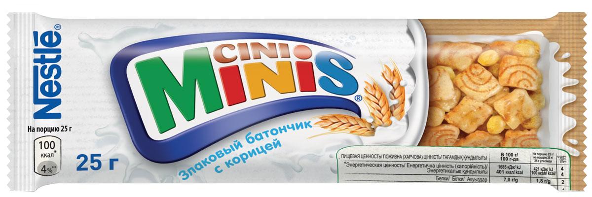 Nestle Cini Minis Злаковый батончик с корицей, 25 г12315545Великолепный вкус корицы и польза цельных злаков. - Необыкновенно вкусные, с натуральной корицей - Содержат цельные злаки - Обогащены витаминами, кальцием и железом