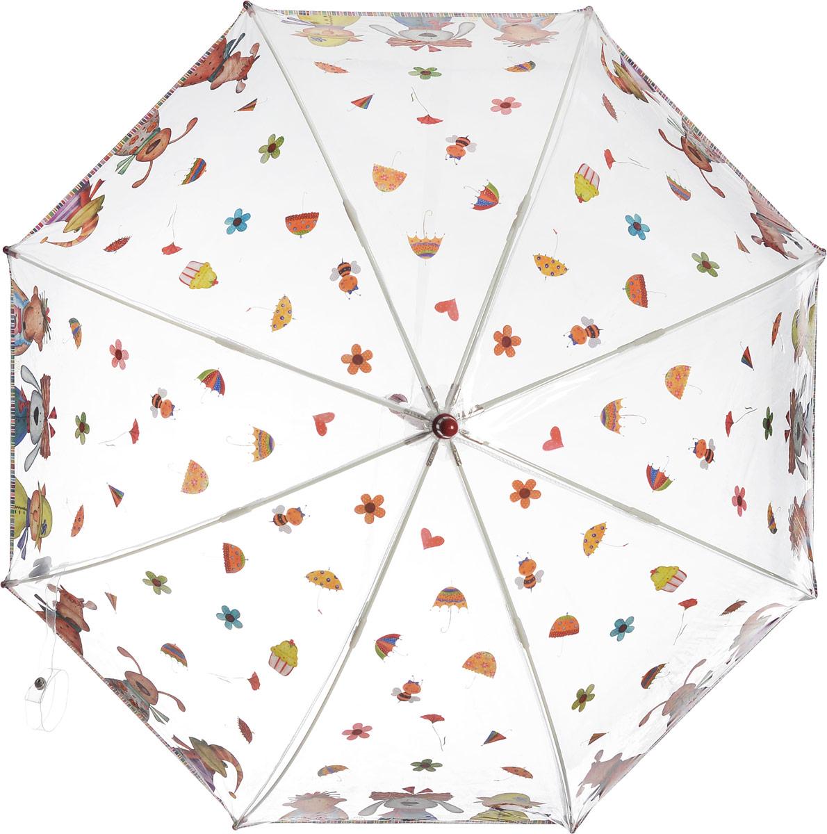 Зонт-трость детский Zest механический, цвет: прозрачный, оливковый. 51510-0551510-05Детский зонт-трость Zest выполнен из металла и пластика. Каркас зонта выполнен из восьми спиц, стержень из стали. На концах спиц предусмотрены пластиковые элементы, которые защитят малыша от травм. Купол зонта изготовлен прочного полиэстера. Закрытый купол застегивается на липучку хлястиком. Практичная глянцевая рукоятка закругленной формы разработана с учетом требований эргономики и выполнена из пластика. Чудесный прозрачный зонтик с изображением красочного рисунка на прозрачном куполе. Эта очень позитивная, прочная в применении модель обязательно понравится вашему ребенку.