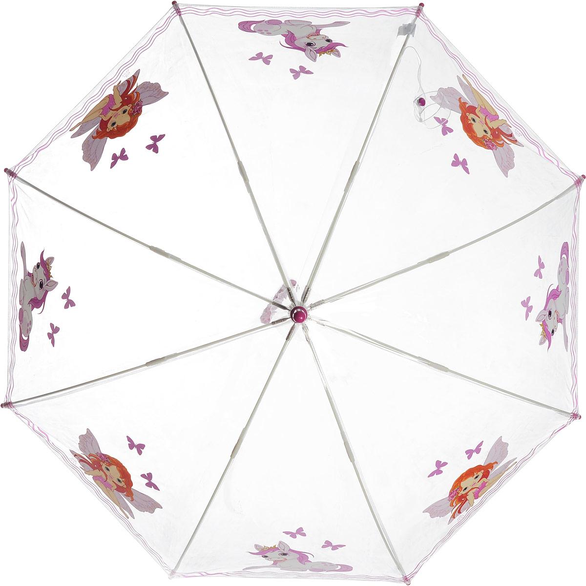 Зонт-трость детский Zest механический, цвет: прозрачный, розовый. 51510-0651510-06Детский зонт-трость Zest выполнен из металла и пластика. Каркас зонта выполнен из восьми спиц, стержень из стали. На концах спиц предусмотрены пластиковые элементы, которые защитят малыша от травм. Купол зонта изготовлен прочного полиэстера. Закрытый купол застегивается на липучку хлястиком. Практичная глянцевая рукоятка закругленной формы разработана с учетом требований эргономики и выполнена из пластика. Чудесный прозрачный зонтик с изображением красочного рисунка на прозрачном куполе. Эта очень позитивная, прочная в применении модель обязательно понравится вашему ребенку.