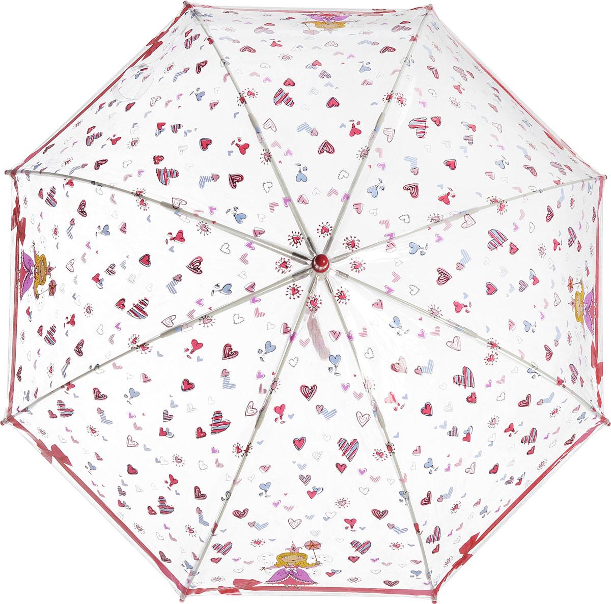 Зонт-трость детский Zest механический, цвет: прозрачный, бордовый. 51510-0451510-04Детский зонт-трость Zest выполнен из металла и пластика, оформлен силуэтами картинок. Каркас зонта выполнен из восьми спиц, стержень из стали. На концах спиц предусмотрены пластиковые элементы, которые защитят малыша от травм. Купол зонта изготовлен прочного полиэстера. Закрытый купол застегивается на липучку хлястиком. Практичная глянцевая рукоятка закругленной формы разработана с учетом требований эргономики и выполнена из пластика. Чудесный прозрачный зонтик с изображением красочного рисунка на прозрачном куполе. Эта очень позитивная, прочная в применении модель обязательно понравится вашему ребенку.