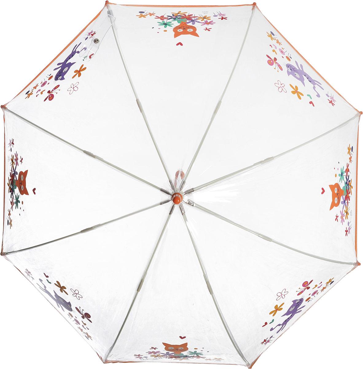 Зонт детский Zest, механический, трость, цвет: прозрачный, оранжевый. 51510-0151510-01Чудесный прозрачный зонтик с изображением красочного рисунка на прозрачном куполе. Эта очень позитивная, прочная в применении модель обязательно понравится Вашему ребенку.