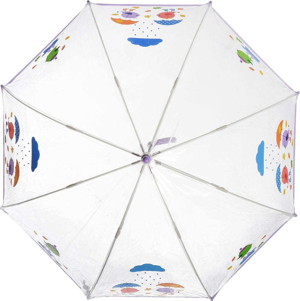 Зонт детский Zest, механический, трость, цвет: прозрачный, сиреневый. 51510-0251510-02Чудесный прозрачный зонтик с изображением красочного рисунка на прозрачном куполе. Эта очень позитивная, прочная в применении модель обязательно понравится Вашему ребенку.