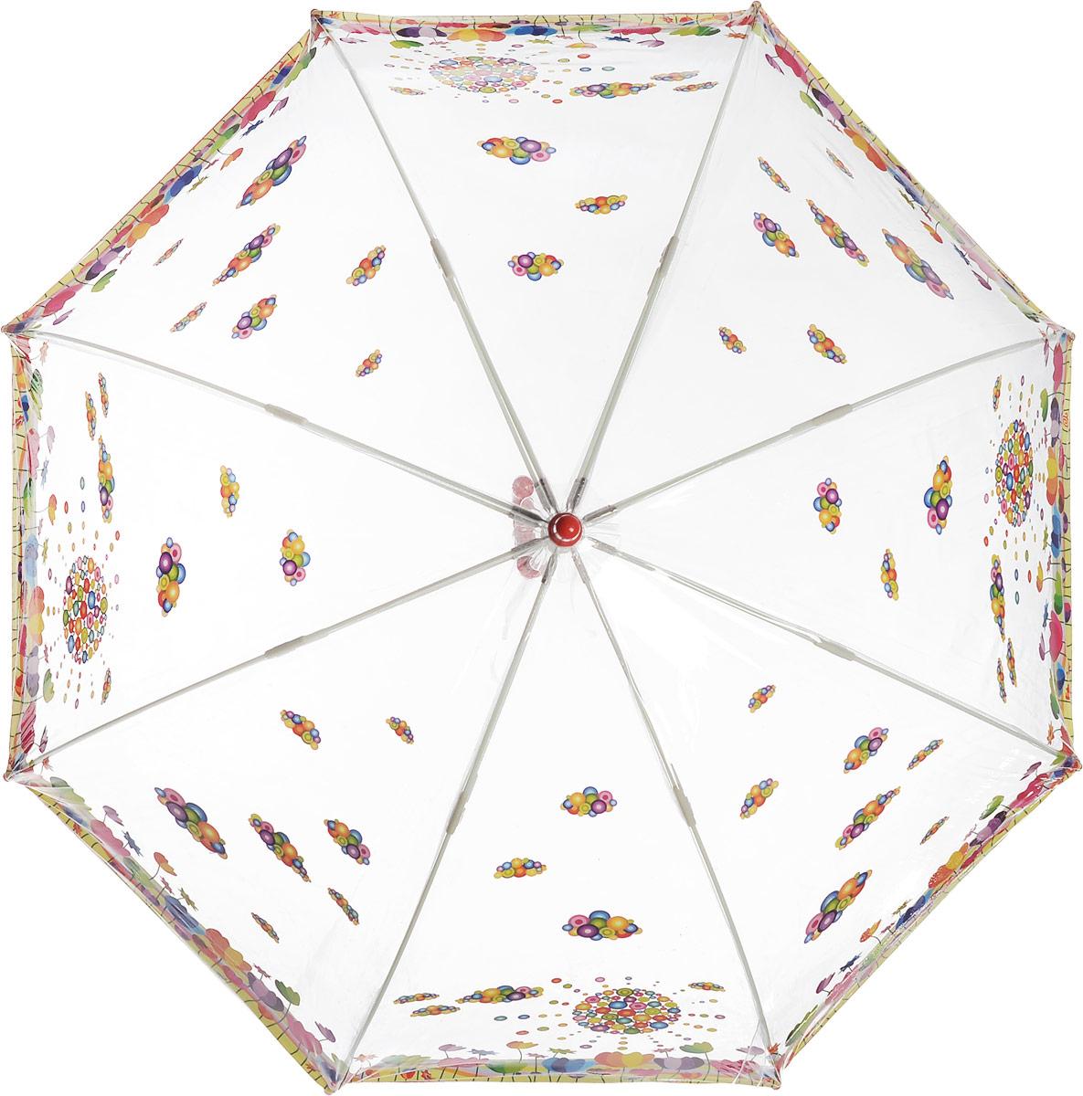 Зонт детский Zest, механический, трость, цвет: прозрачный, красный. 51510-0351510-03Чудесный прозрачный зонтик с изображением красочного рисунка на прозрачном куполе. Эта очень позитивная, прочная в применении модель обязательно понравится Вашему ребенку.