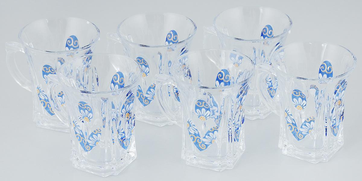 Набор кружек Loraine, цвет: прозрачный, синий, белый, 175 мл, 6 шт22756_прозрачный, синий, белыйНабор Loraine, выполненный из прочного натрий-кальций-силикатного стекла в мягких тонах с оригинальным цветочным узором, состоит из шести кружек с удобными ручками. Набор стаканов Loraine станет отличным подарком на любой праздник. Не рекомендуется мыть в посудомоечной машине. Диаметр кружки (по верхнему краю): 7,5 см. Высота кружки: 9 см. Объем кружки: 175 мл.