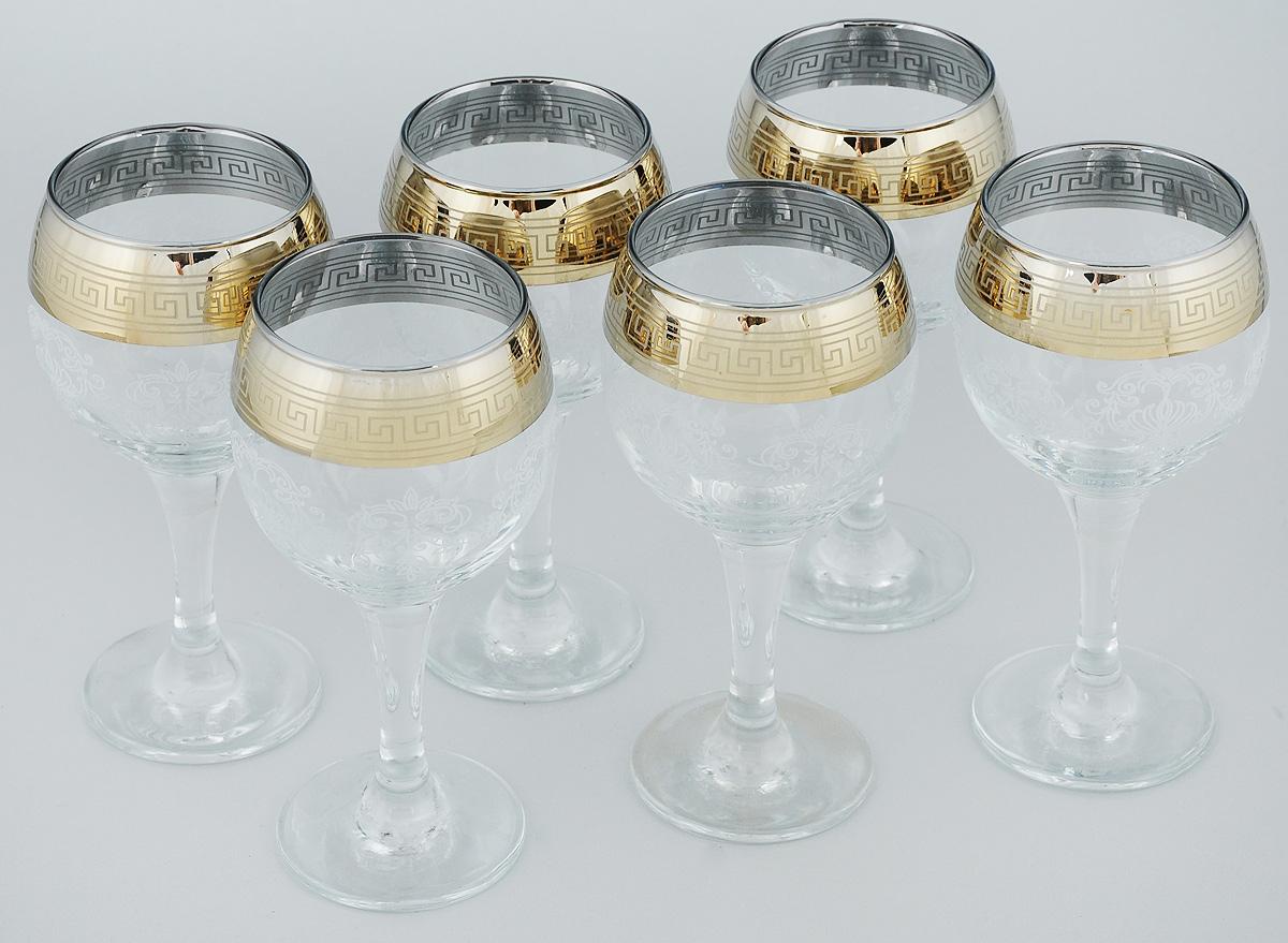 Набор бокалов для вина Мусатов Гармония, 260 мл, 6 шт411/02Набор Мусатов Гармония состоит из 6 бокалов, изготовленных из высококачественного стекла. Бокалы имеют прозрачную поверхность и декорированы позолоченной окантовкой с орнаментом. Набор предназначен для подачи вина. Набор фужеров Мусатов Гармония прекрасно оформит праздничный стол и создаст приятную атмосферу за романтическим ужином. Такой набор также станет хорошим подарком к любому случаю. Диаметр бокала (по верхнему краю): 6,5 см. Высота бокала: 16 см. Диаметр основания бокала: 6,5 см.