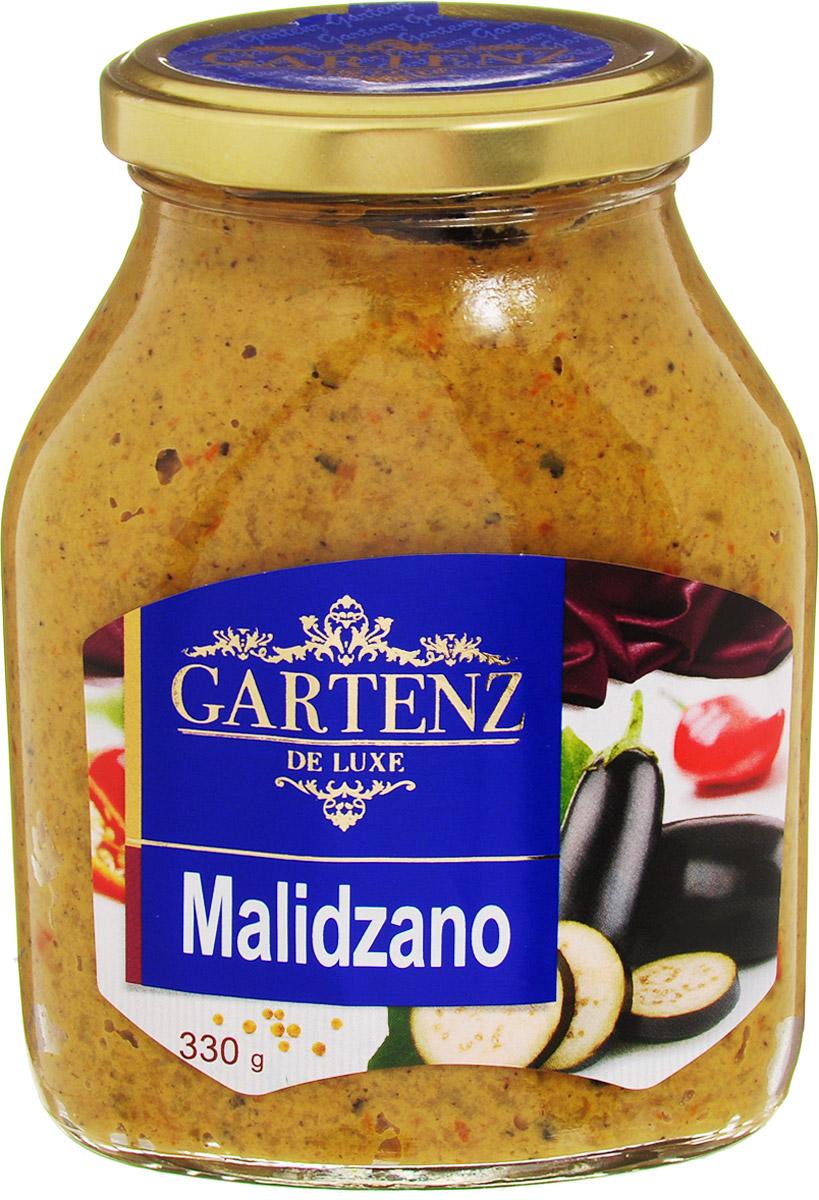 Gartenz de Luxe малиджано, 330 гоаа014Овощной деликатес из печеных баклажанов и перцев, приправленных горчицей. Приготовлен по традиционным рецептам балканской кухни. Идеально подойдет для легкого завтрака, быстрой закуски или позднего ужина. Продукция под торговой маркой Gartenz de Luxe ориентирована на удовлетворение самых изысканных вкусовых предпочтений. Овощные деликатесы Gartenz de Luxe объединяют в себе уникальную рецептуру, использование отборных овощей, отсутствие искусственных добавок, и яркий, контрастный дизайн. Строгий отбор и непрерывный тщательный контроль сырья опытными специалистами, в сочетании с высокими технологиями производства, позволяют поддерживать стабильно высокое качество всей линейки Gartenz de Luxe. Перец и баклажаны, используемые для производства овощных закусок Gartenz de Luxe выращиваются в Македонии. Перед приготовлением овощи очищаются, обжигаются на открытом огне и режутся на кусочки. Процесс приготовления происходит при низких температурах (50 С), что позволяет максимально...