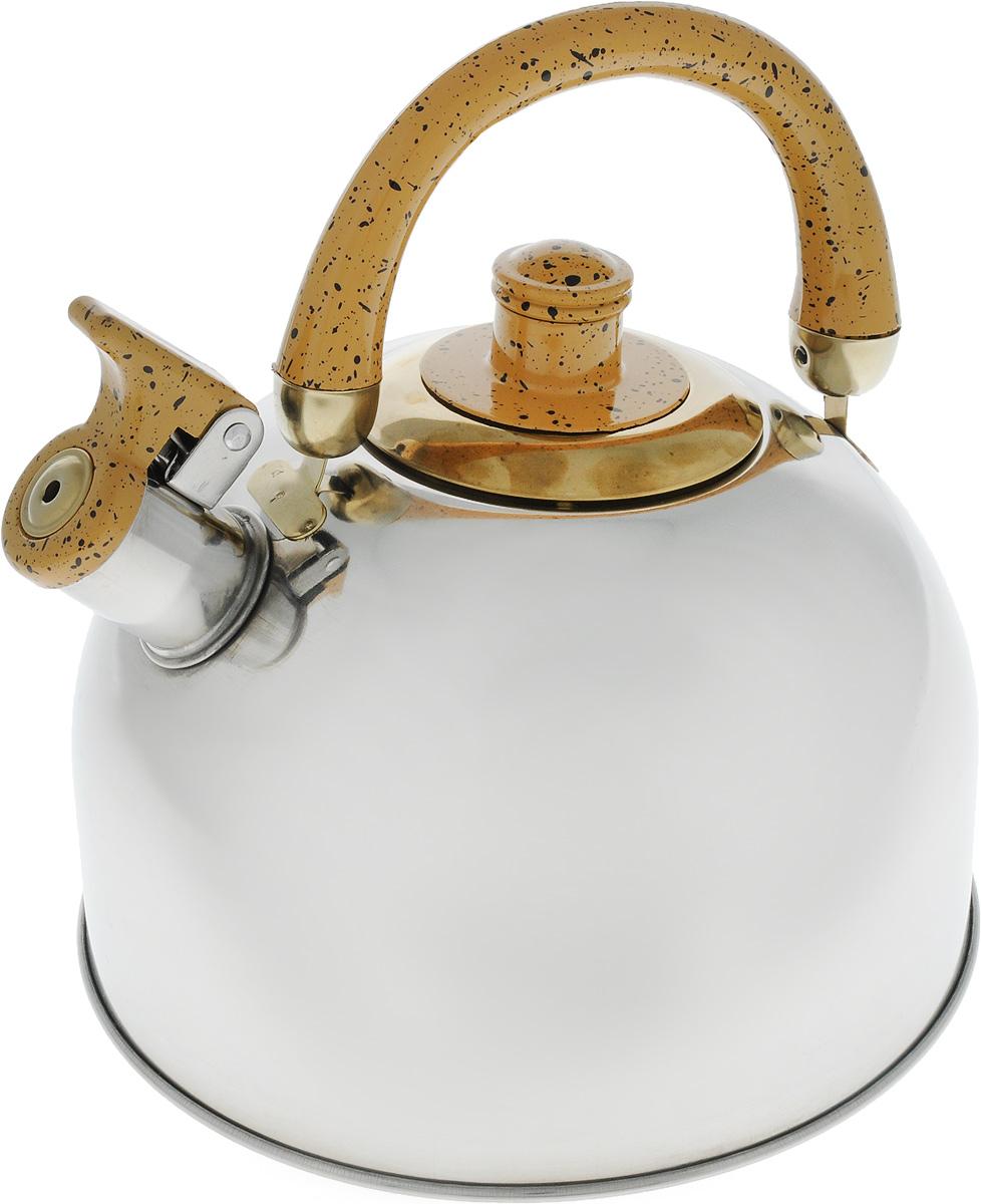 Чайник Mayer & Boch, цвет: стальной, золотой, 4 л. 1046A1046A_стальной, золотойЧайник Mayer & Boch изготовлен из высококачественной нержавеющей стали с зеркальной полировкой, что делает его весьма гигиеничным и устойчивым к износу при длительном использовании. Гладкая и ровная поверхность существенно облегчает уход за посудой. Выполненный из качественных материалов чайник при кипячении сохраняет все полезные свойства воды. Носик чайника имеет откидной свисток, звуковой сигнал которого подскажет, когда закипит вода. Крышка, свисток и ручка выполнены из бакелита. Классический дизайн чайника Mayer & Boch дополнит любую кухню. Подходит для использования на всех типах кухонных плит, кроме индукционных. Высота чайника (с учетом ручки): 21 см. Высота чайника (без учета ручки и крышки): 12 см. Диаметр по верхнему краю: 8,5 см.