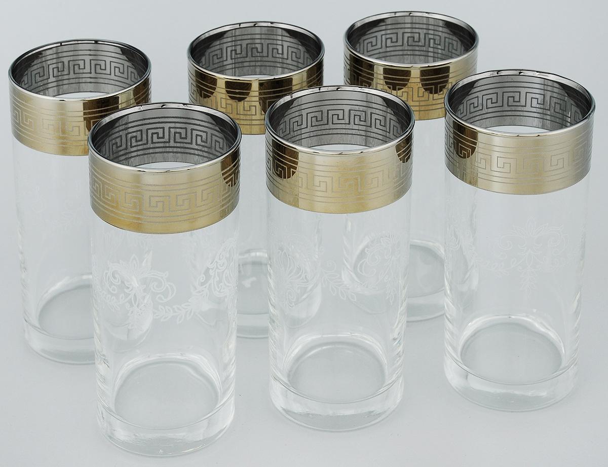 Набор стаканов для сока Гусь-Хрустальный Гармония, 290 мл, 6 шт402/02Набор Гусь-Хрустальный Гармония состоит из 6 высоких стаканов, изготовленных из высококачественного натрий-кальций-силикатного стекла. Изделия оформлены красивым зеркальным покрытием и широкой окантовкой с оригинальным узором. Стаканы предназначены для подачи сока, а также воды и коктейлей. Такой набор прекрасно дополнит праздничный стол и станет желанным подарком в любом доме. Разрешается мыть в посудомоечной машине. Диаметр стакана (по верхнему краю): 6 см. Высота стакана: 13,2 см.
