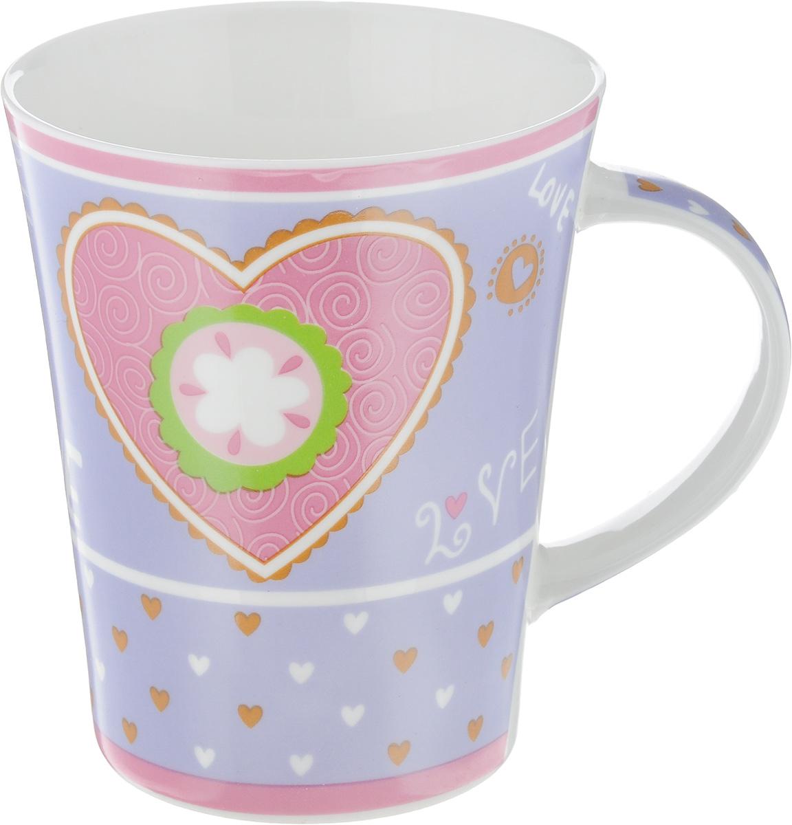 Кружка Loraine Love, цвет: сиреневый, розовый, 400 мл22119_сиреневый, розовыйОригинальная кружка Loraine Love выполнена из высококачественного фарфора и украшена изображением сердечек и надписями. Изделие оснащено эргономичной ручкой. Кружка Loraine Love сочетает в себе яркий дизайн и функциональность. Она согреет вас долгими холодными вечерами. Диаметр кружки (по верхнему краю): 9 см. Высота кружки: 11 см. Объем: 400 мл.