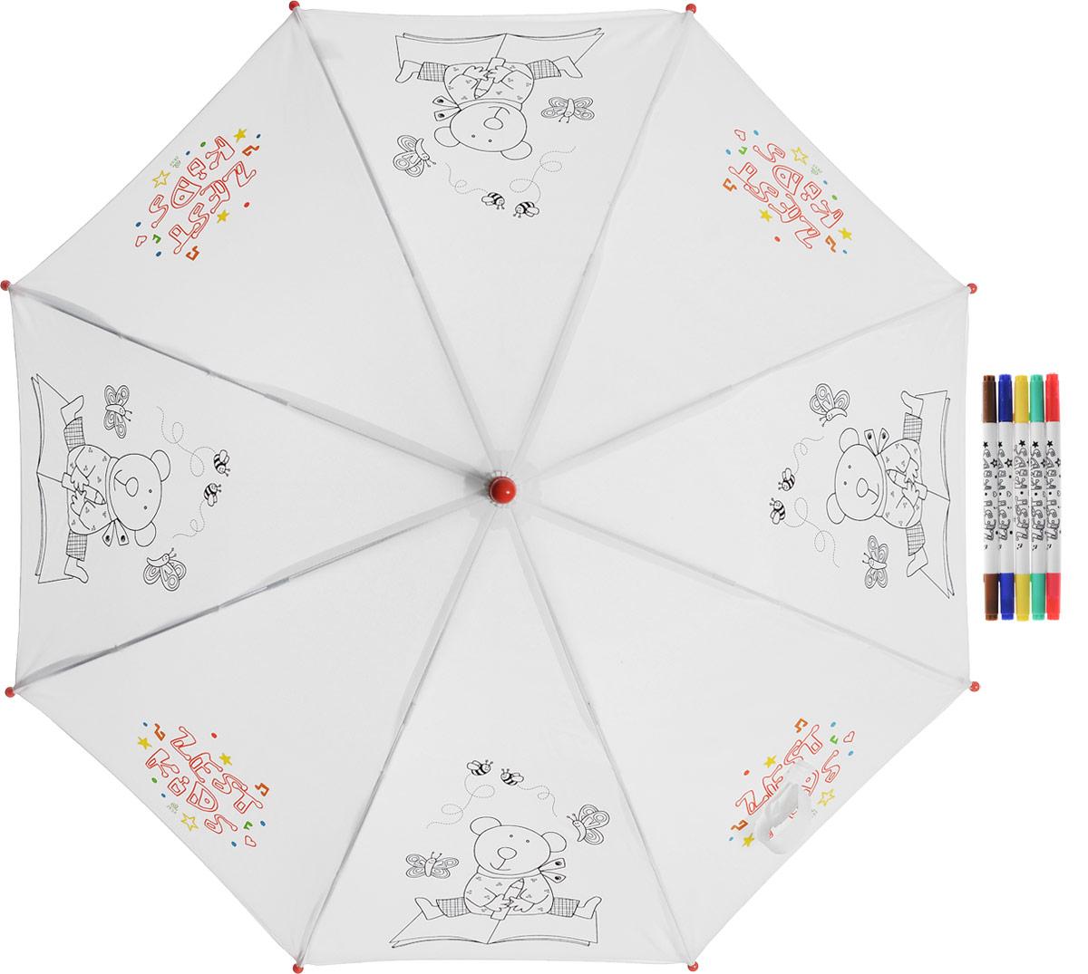Зонт детский Zest, механический, трость, цвет: белый, черный. 21581-25521581-255Детский зонт-трость РАСКРАСКА с фломастерами в комплекте. Зонт-раскраска будет притным подарком, который не только защитит малыша от непогоды, но и даст возможность стать настоящим маленьким художником.