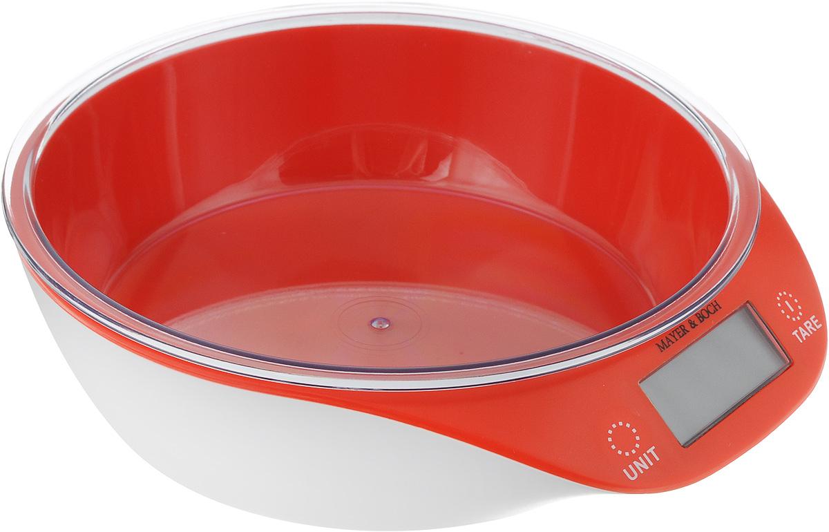 Весы кухонные Mayer & Bosh, с чашей, цвет: красный, белый, до 5 кг10955_красныйКухонные весы Mayer & Boch изготовлены из высококачественного пластика. Изделие оснащено акриловой панелью и съемной чашей. Весы имеют цифровой LCD-дисплей с функцией автоматического отключения и тарокомпенсации, а также мощный процессор и тензометрический датчик высокой прочности. Кухонные весы Mayer & Boch пригодятся на любой кухне и станут прекрасным дополнением к набору вашей мелкой бытовой техники. Используя их, вы сможете готовить блюда, точно следуя предложенной рецептуре, что немаловажно при приготовлении сложных блюд, соусов и выпечки. Оригинальные, с ярким дизайном, такие весы украсят любую кухню и принесут радость каждой хозяйке. Нагрузка: 2-5000 г. Питание: ААА х 2 (входят в комплект). Размер весов: 20 х 19 х 5,5 см. Размер чаши: 18 х 18 х 4,5 см.