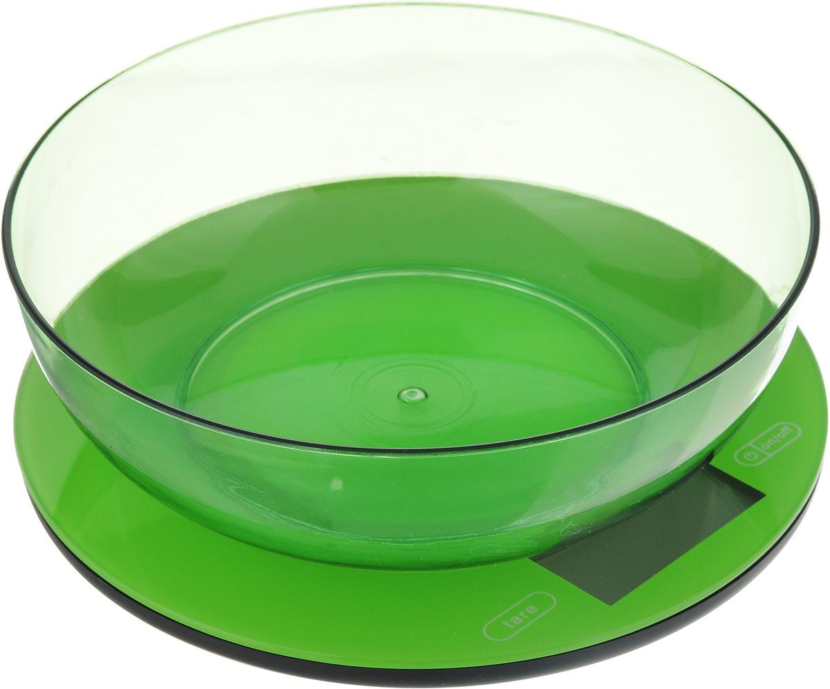 Весы кухонные Mayer & Bosh, с чашей, цвет: зеленый, до 5 кг. 1095810958_зеленыйКухонные весы Mayer & Boch изготовлены из высококачественного пластика. Изделие оснащено акриловой панелью и съемной чашей. Весы имеют цифровой LCD-дисплей с функцией автоматического отключения и тарокомпенсации, а также мощный процессор и тензометрический датчик высокой прочности. На корпусе расположены кнопки управления: кнопка включения/отключения и обнуления веса - On/Off и Tare. Кухонные весы Mayer & Boch пригодятся на любой кухне и станут прекрасным дополнением к набору вашей мелкой бытовой техники. Используя их, вы сможете готовить блюда, точно следуя предложенной рецептуре, что немаловажно при приготовлении сложных блюд, соусов и выпечки. Оригинальные, с ярким дизайном, такие весы украсят любую кухню и принесут радость каждой хозяйке. Нагрузка: 2 - 5000 г. Питание: ААА х 2 (входят в комплект). Размер весов: 20 х 20 х 1,5 см. Размер чаши: 19 х 19 х 6 см.