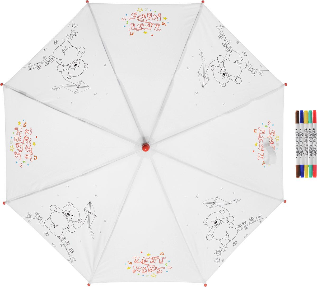 Зонт детский Zest, механический, трость, цвет: белый, черный. 21581-25421581-254Детский зонт-трость РАСКРАСКА с фломастерами в комплекте. Зонт-раскраска будет притным подарком, который не только защитит малыша от непогоды, но и даст возможность стать настоящим маленьким художником.