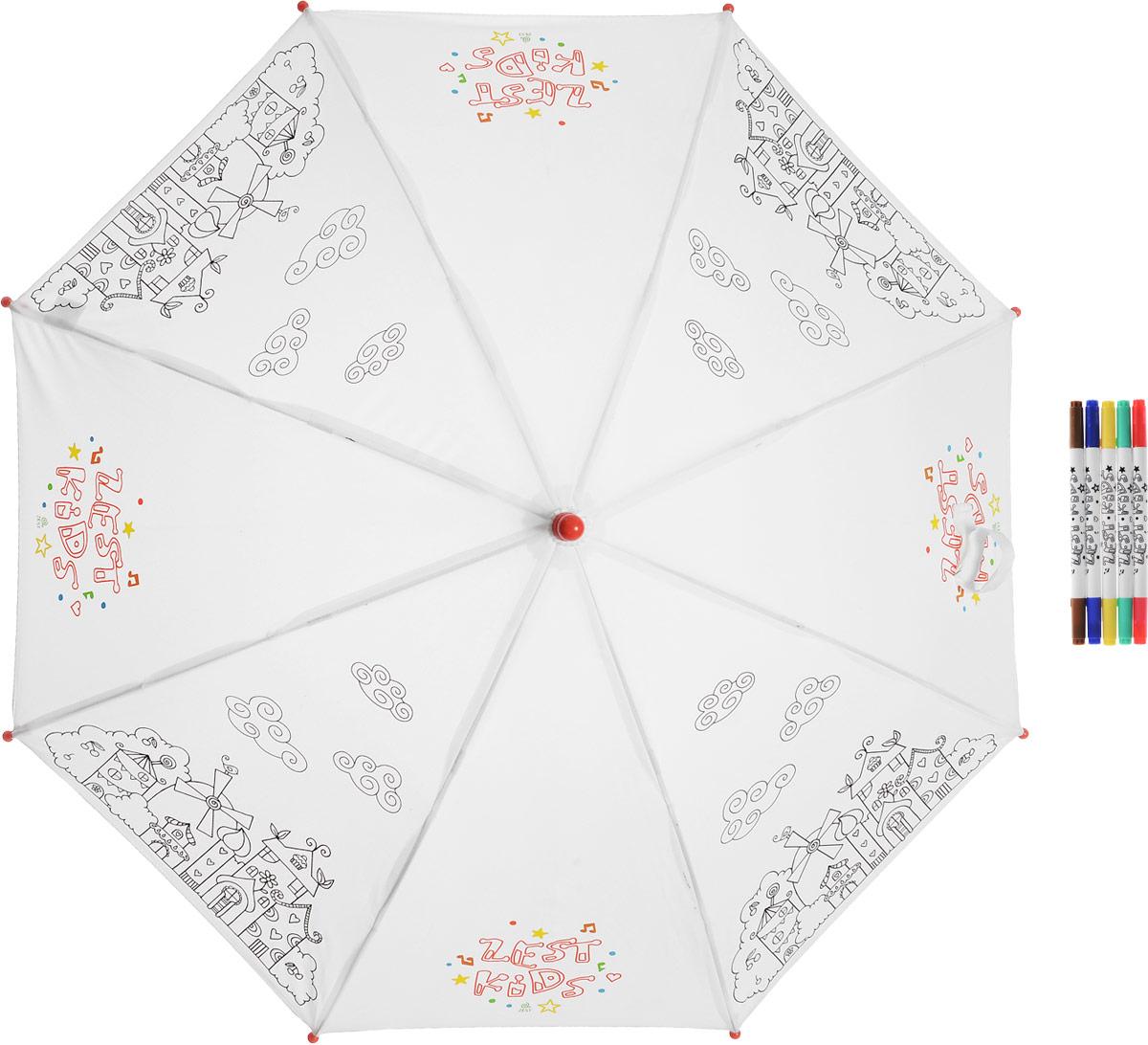 Зонт-трость детский Zest механический, цвет: белый. 21581-25721581-257Детский зонт-трость для раскрашивания Zest выполнен из металла и пластика, оформлен силуэтами картинок. Картинки малыш сможет раскрасить самостоятельно фломастерами, входящими в комплект. Каркас зонта выполнен из восьми спиц, стержень из стали. На концах спиц предусмотрены пластиковые элементы, которые защитят малыша от травм. Купол зонта изготовлен прочного полиэстера. Закрытый купол застегивается на липучку хлястиком. Практичная глянцевая рукоятка закругленной формы разработана с учетом требований эргономики и выполнена из пластика.
