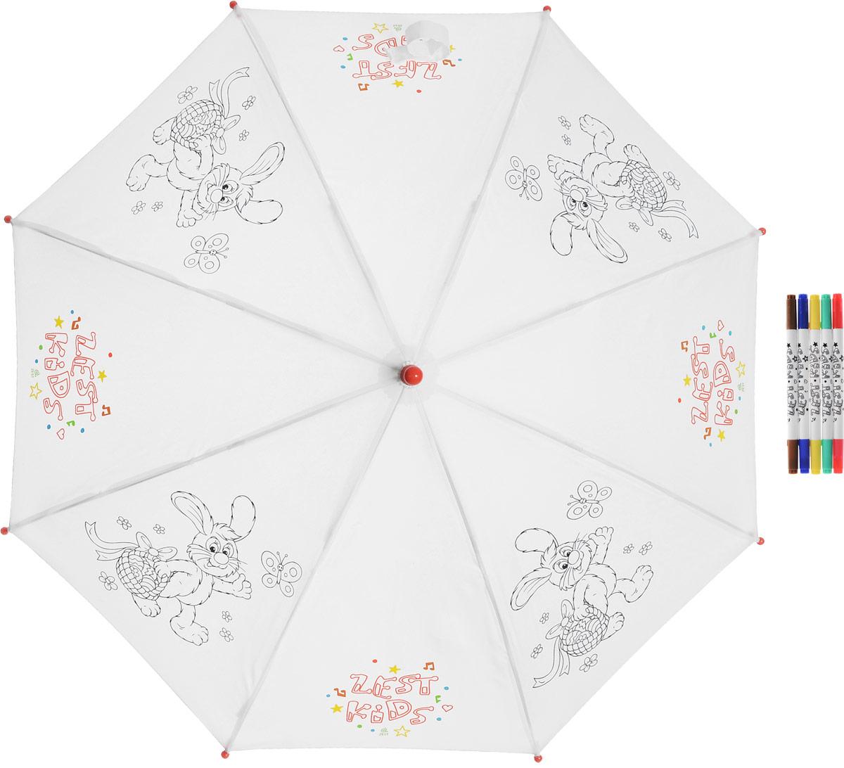 Зонт-трость детский Zest механический, цвет: белый. 21581-25321581-253Детский зонт-трость для раскрашивания Zest выполнен из металла и пластика, оформлен силуэтами картинок. Картинки малыш сможет раскрасить самостоятельно фломастерами, входящими в комплект. Каркас зонта выполнен из восьми спиц, стержень из стали. На концах спиц предусмотрены пластиковые элементы, которые защитят малыша от травм. Купол зонта изготовлен прочного полиэстера. Закрытый купол застегивается на липучку хлястиком. Практичная глянцевая рукоятка закругленной формы разработана с учетом требований эргономики и выполнена из пластика.