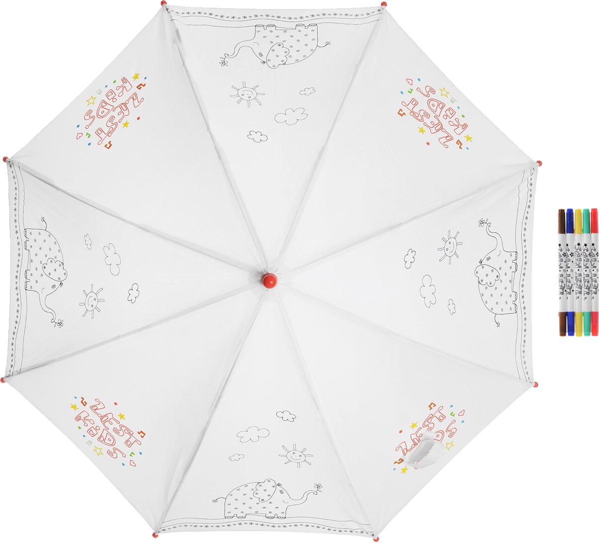 Зонт-трость детский Zest механический, цвет: белый. 21581-25621581-256Детский зонт-трость для раскрашивания Zest выполнен из металла и пластика, оформлен силуэтами картинок. Картинки малыш сможет раскрасить самостоятельно фломастерами, входящими в комплект. Каркас зонта выполнен из восьми спиц, стержень из стали. На концах спиц предусмотрены пластиковые элементы, которые защитят малыша от травм. Купол зонта изготовлен прочного полиэстера. Закрытый купол застегивается на липучку хлястиком. Практичная глянцевая рукоятка закругленной формы разработана с учетом требований эргономики и выполнена из пластика. Зонт-раскраска будет приятным подарком, который не только защитит малыша от непогоды, но и даст возможность стать настоящим маленьким художником.
