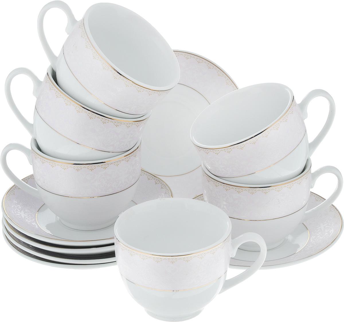 Набор чайный Loraine, 12 предметов. 2590225902Чайный набор Loraine состоит из шести чашек и шести блюдец. Изделия выполнены из высококачественного фарфора и оформлены нежным декором. Такой набор изящно дополнит сервировку стола к чаепитию. Благодаря оригинальному дизайну и качеству исполнения, он станет замечательным подарком для ваших друзей и близких. Объем чашки: 240 мл. Диаметр чашки (по верхнему краю): 8,5 см. Высота чашки: 7 см. Диаметр блюдца: 14 см. Высота блюдца: 2 см.