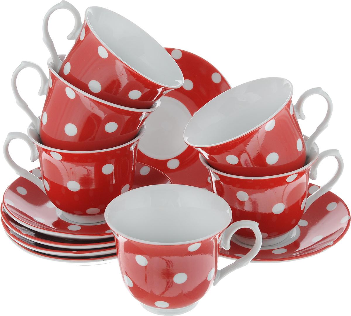 Набор чайный Loraine, цвет: белый, красный, 12 предметов. 2590625906_белый, красныйЧайный набор Loraine состоит из шести чашек и шести блюдец. Изделия выполнены из высококачественного фарфора и оформлены красивым принтом в горошек. Такой набор изящно дополнит сервировку стола к чаепитию. Благодаря оригинальному дизайну и качеству исполнения, он станет замечательным подарком для ваших друзей и близких. Объем чашки: 220 мл. Диаметр чашки (по верхнему краю): 9 см. Высота чашки: 7,5 см. Диаметр блюдца: 14 см. Высота блюдца: 2 см.